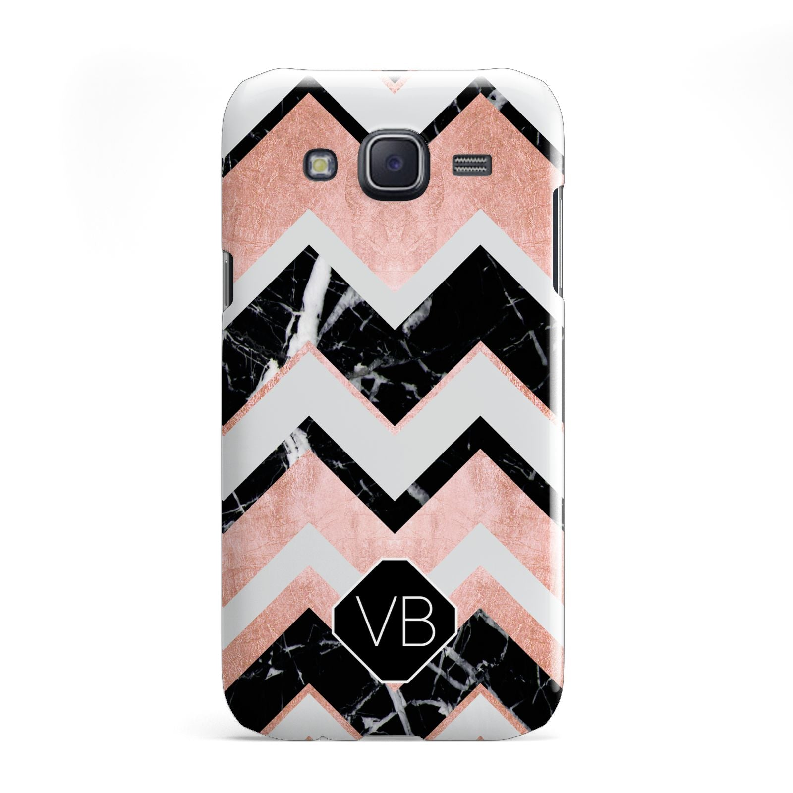 Personalised Chevron Marbled Initials Samsung Galaxy J5 Case