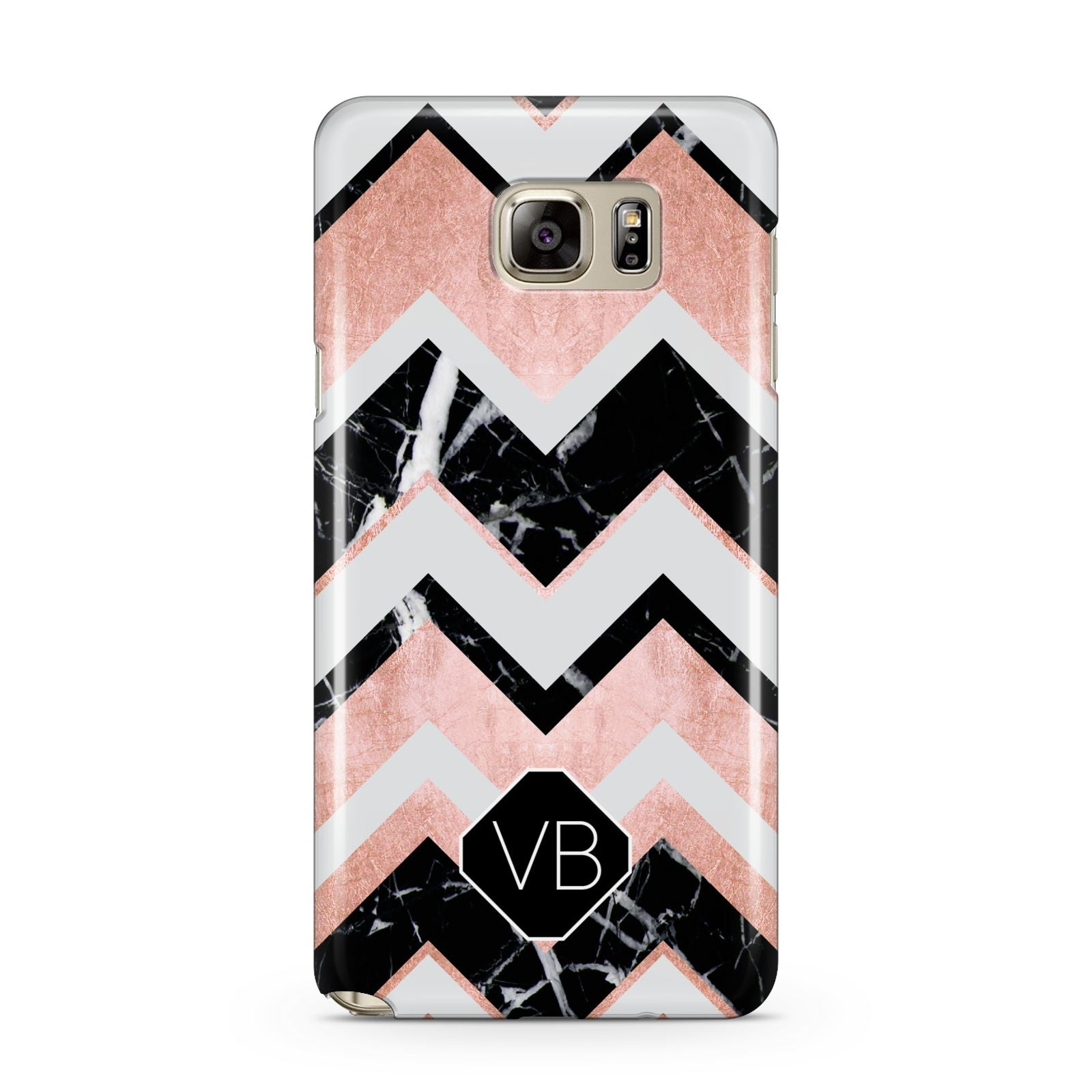 Personalised Chevron Marbled Initials Samsung Galaxy Note 5 Case