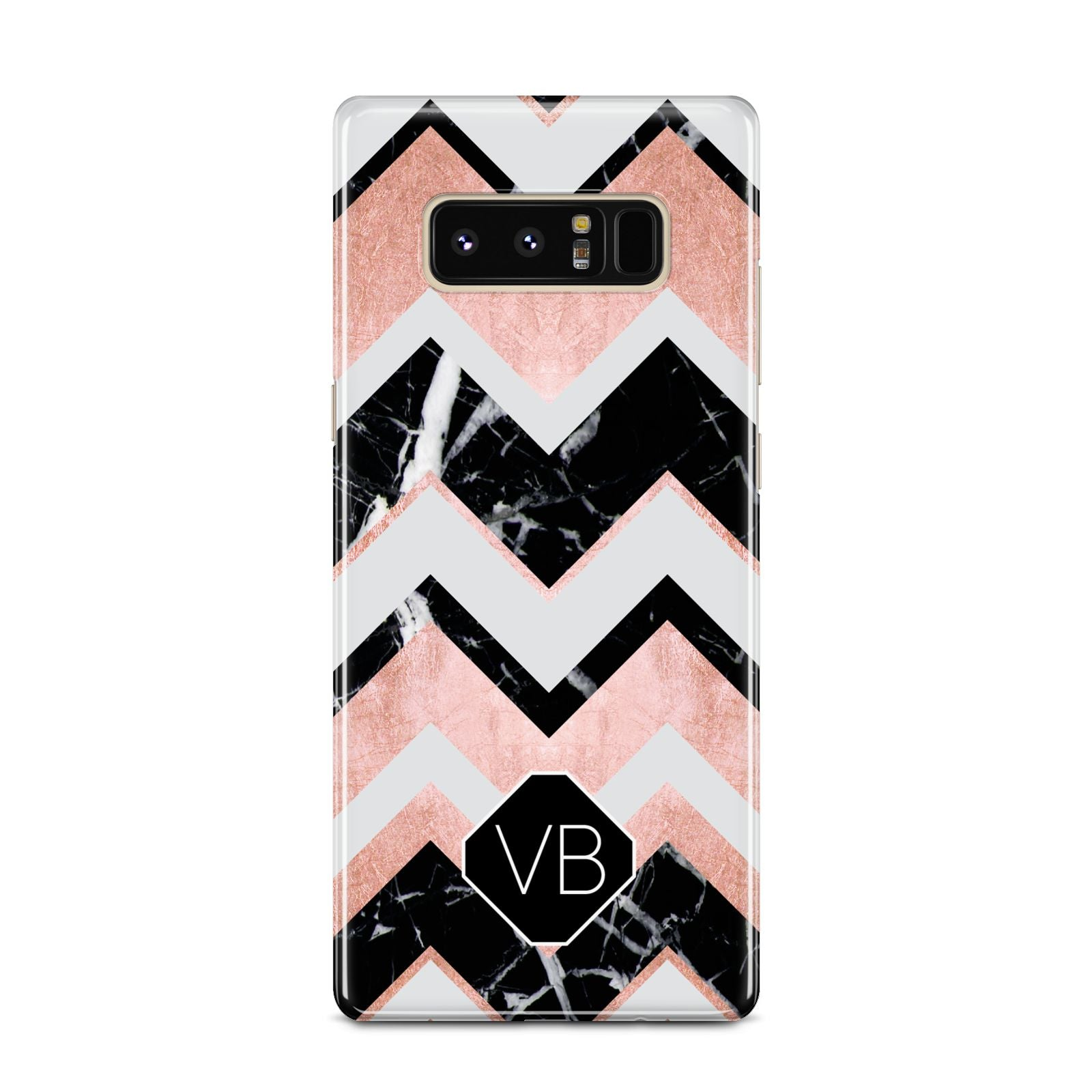 Personalised Chevron Marbled Initials Samsung Galaxy Note 8 Case
