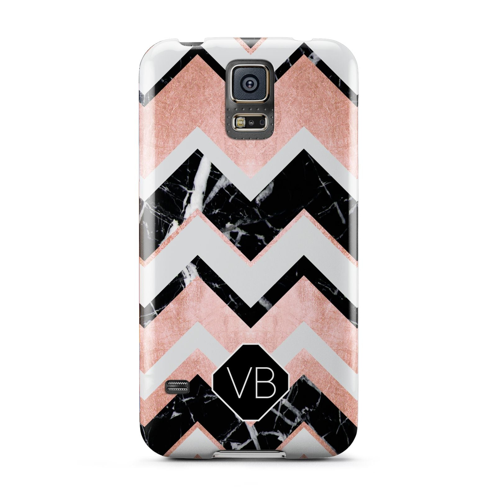 Personalised Chevron Marbled Initials Samsung Galaxy S5 Case