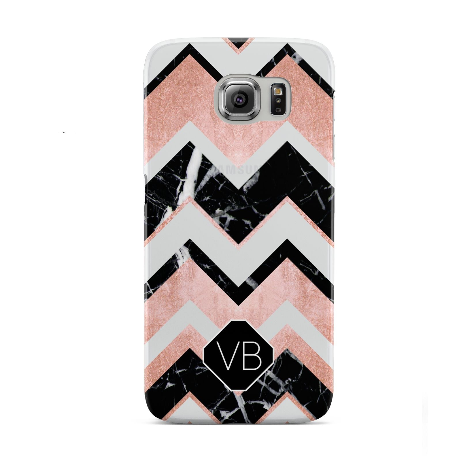 Personalised Chevron Marbled Initials Samsung Galaxy S6 Case