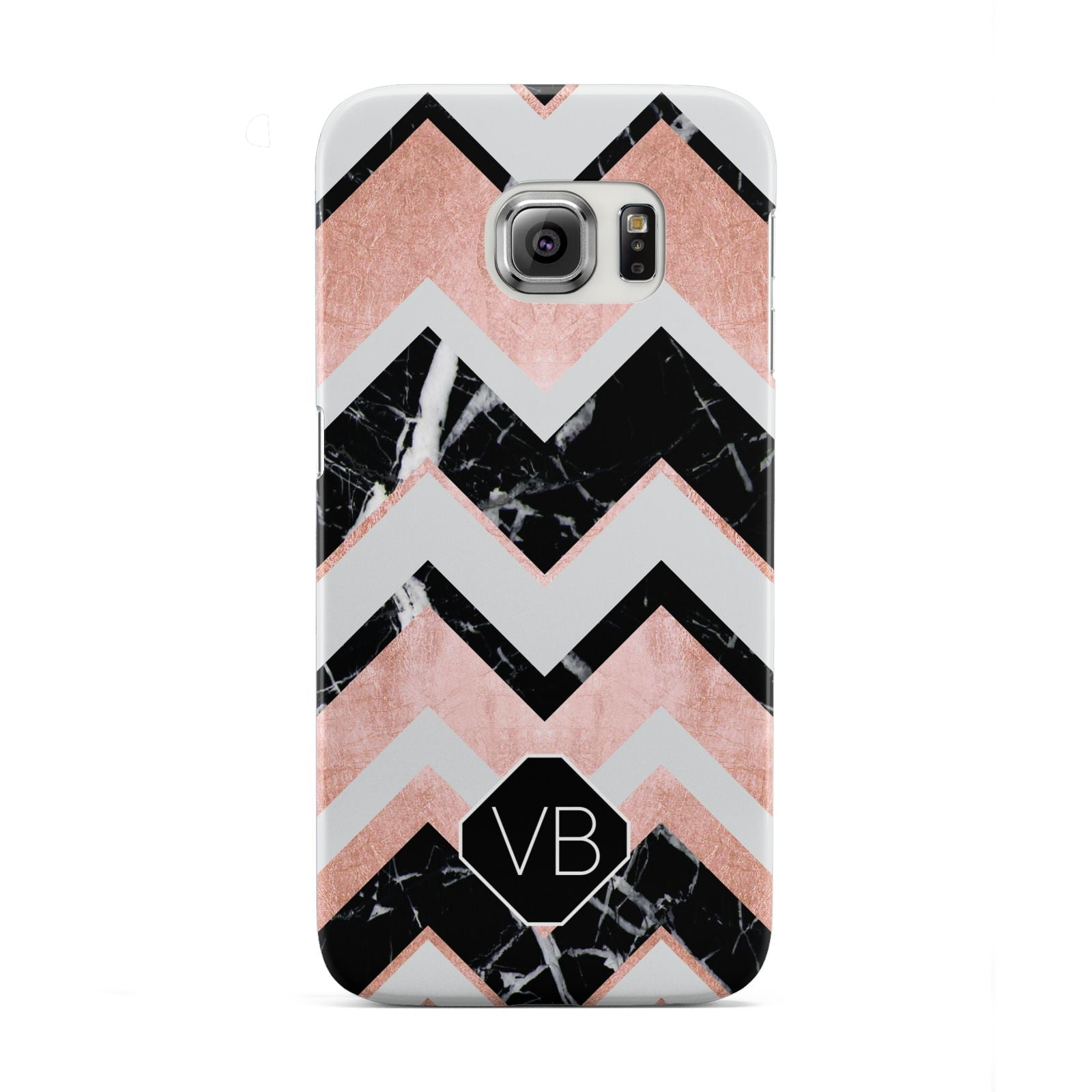 Personalised Chevron Marbled Initials Samsung Galaxy S6 Edge Case