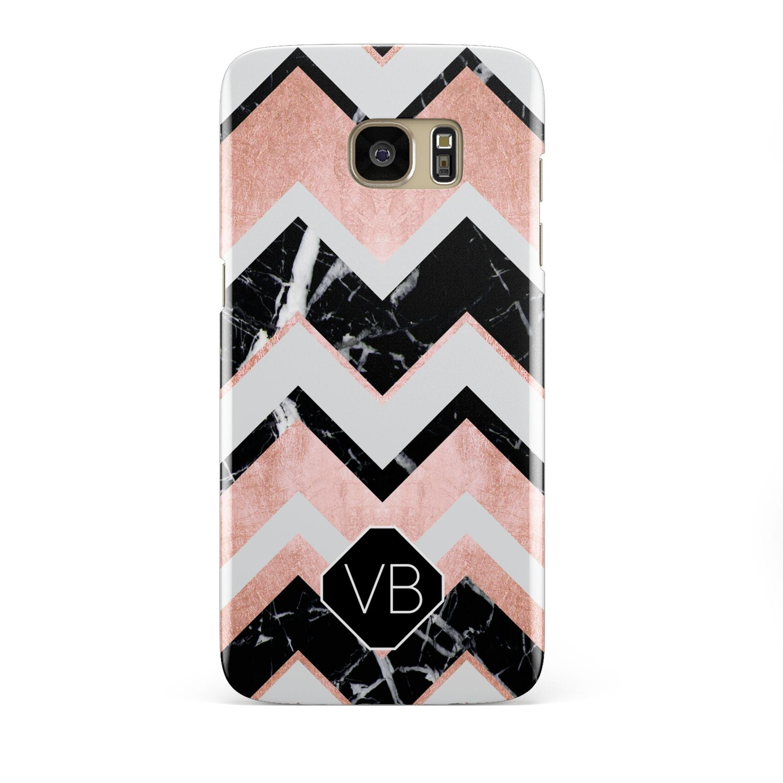 Personalised Chevron Marbled Initials Samsung Galaxy S7 Edge Case