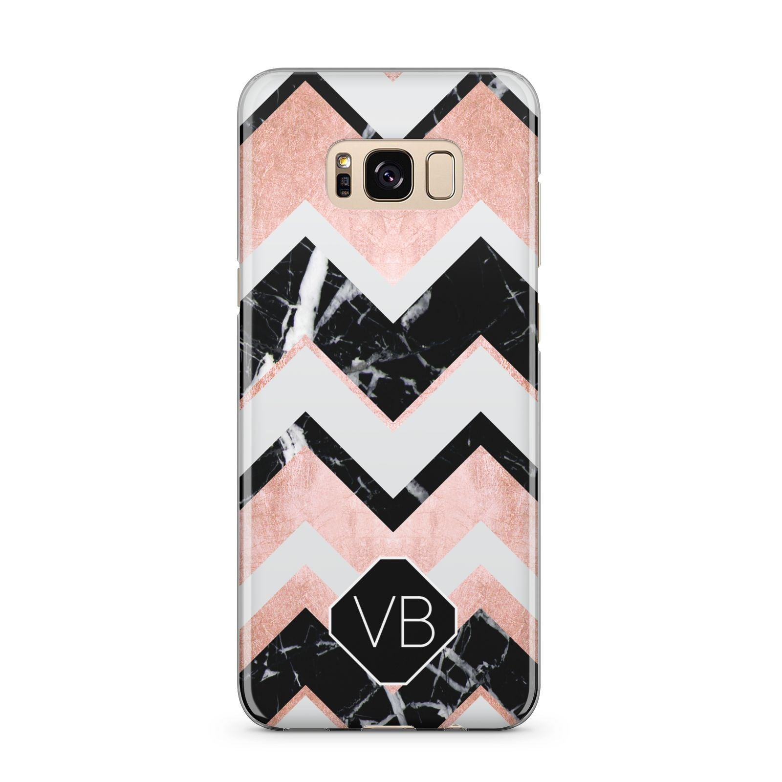 Personalised Chevron Marbled Initials Samsung Galaxy S8 Plus Case