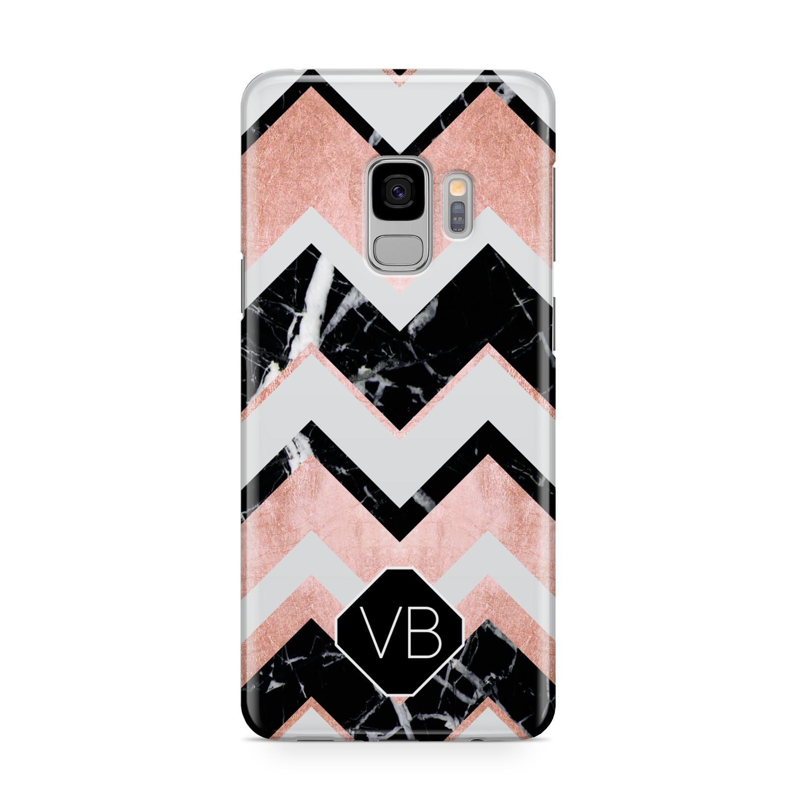 Personalised Chevron Marbled Initials Samsung Galaxy S9 Case