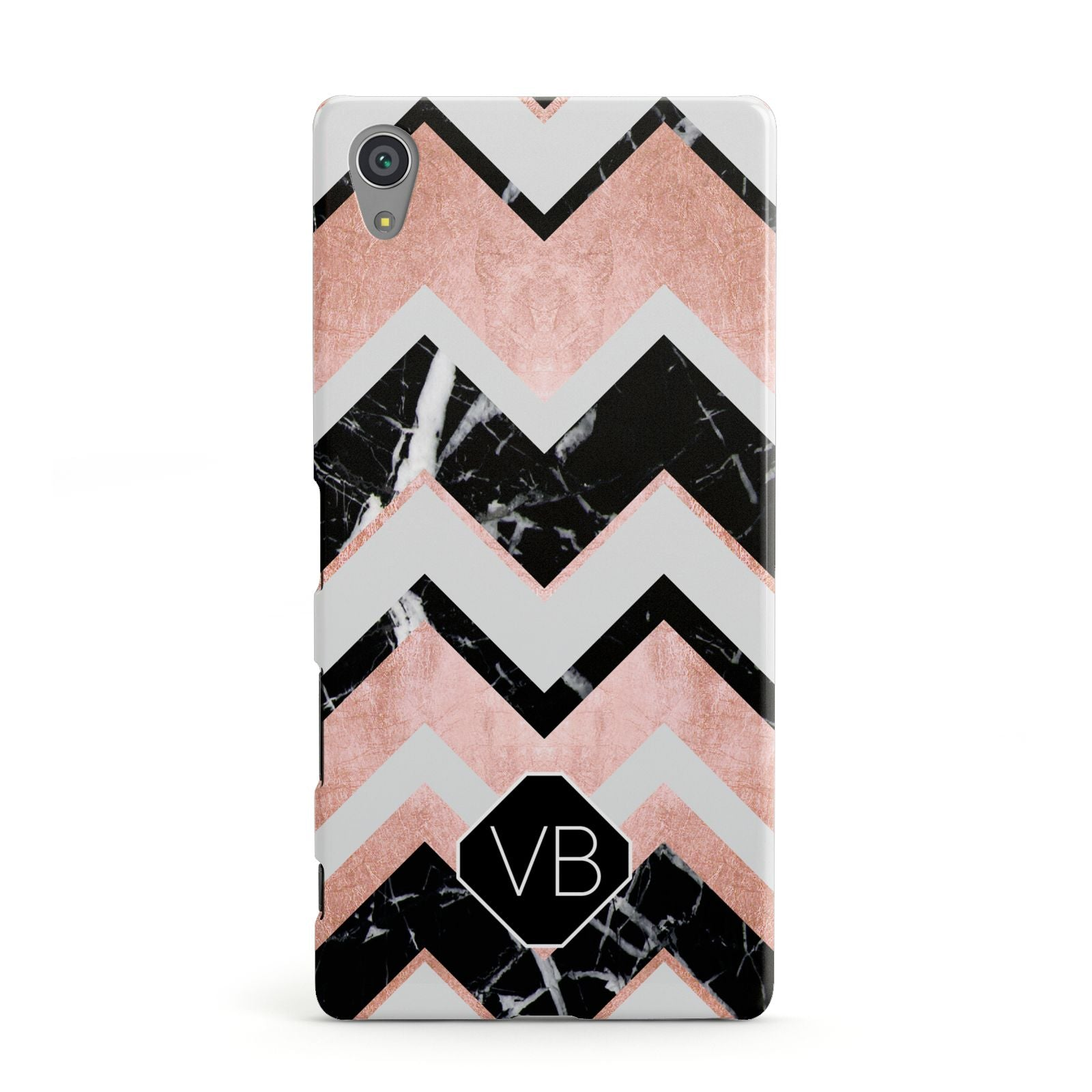 Personalised Chevron Marbled Initials Sony Xperia Case
