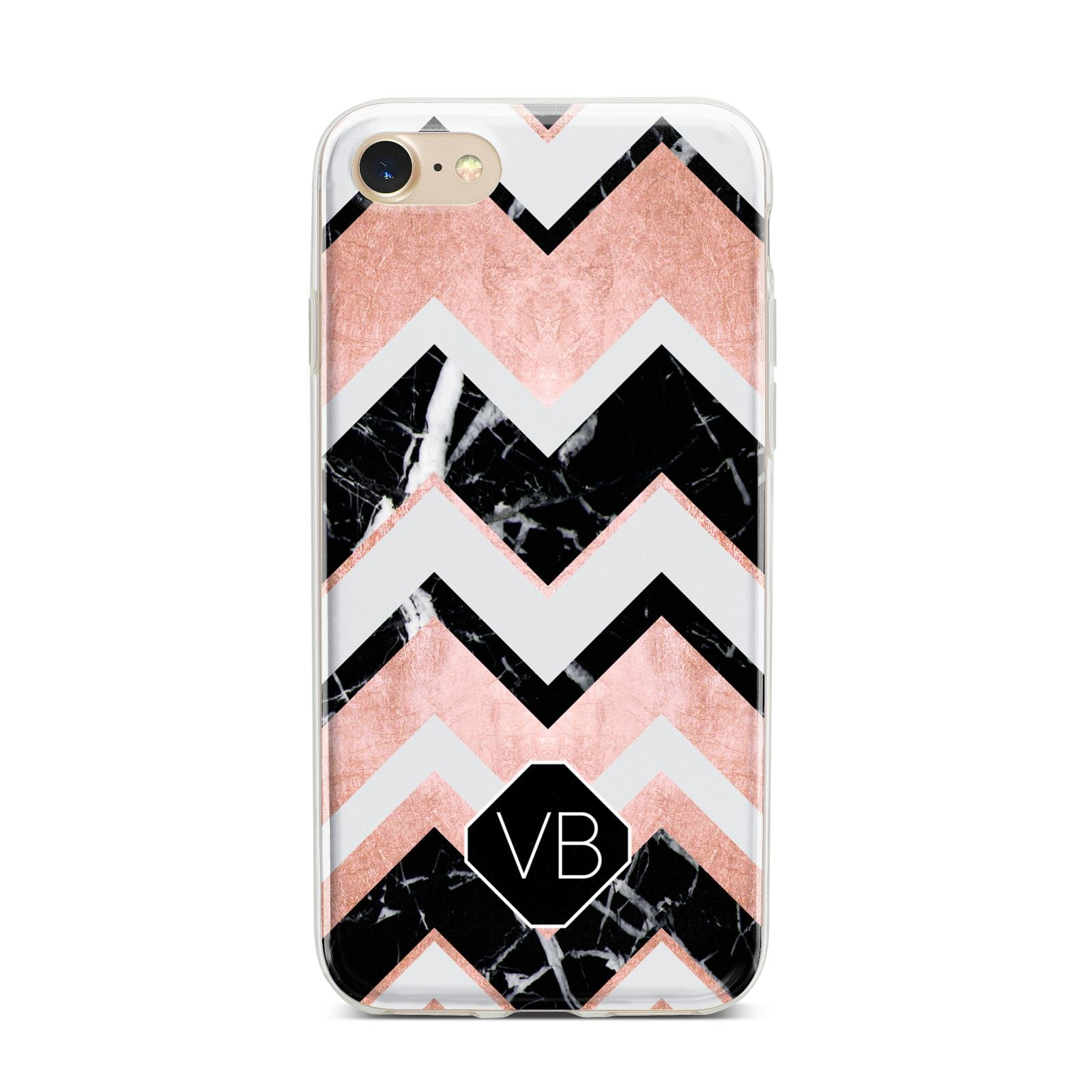 Personalised Chevron Marbled Initials iPhone 7 Bumper Case on Gold iPhone