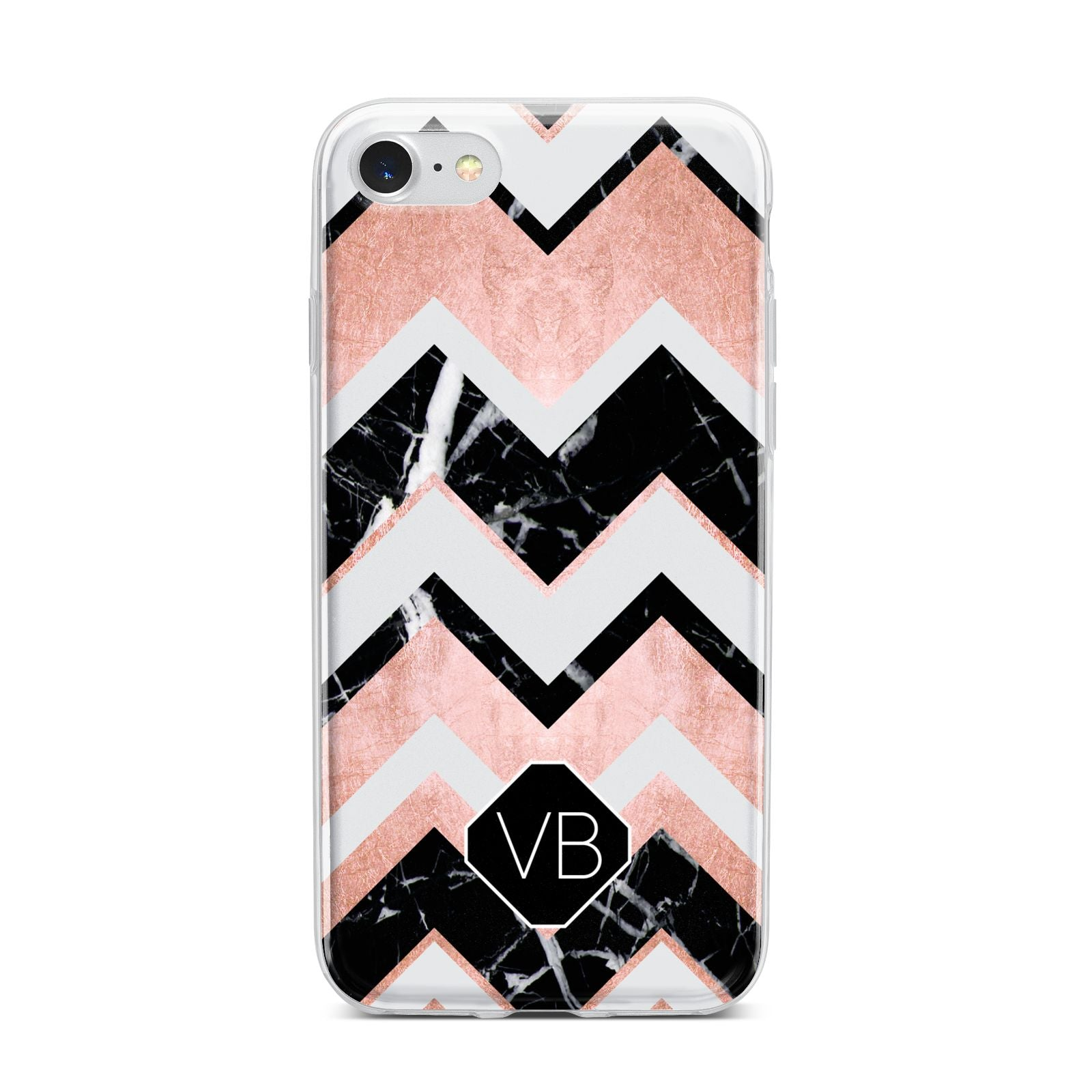 Personalised Chevron Marbled Initials iPhone 7 Bumper Case on Silver iPhone