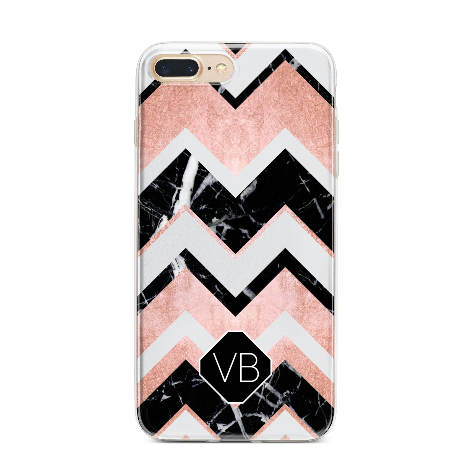 Personalised Chevron Marbled Initials iPhone 7 Plus Bumper Case on Gold iPhone