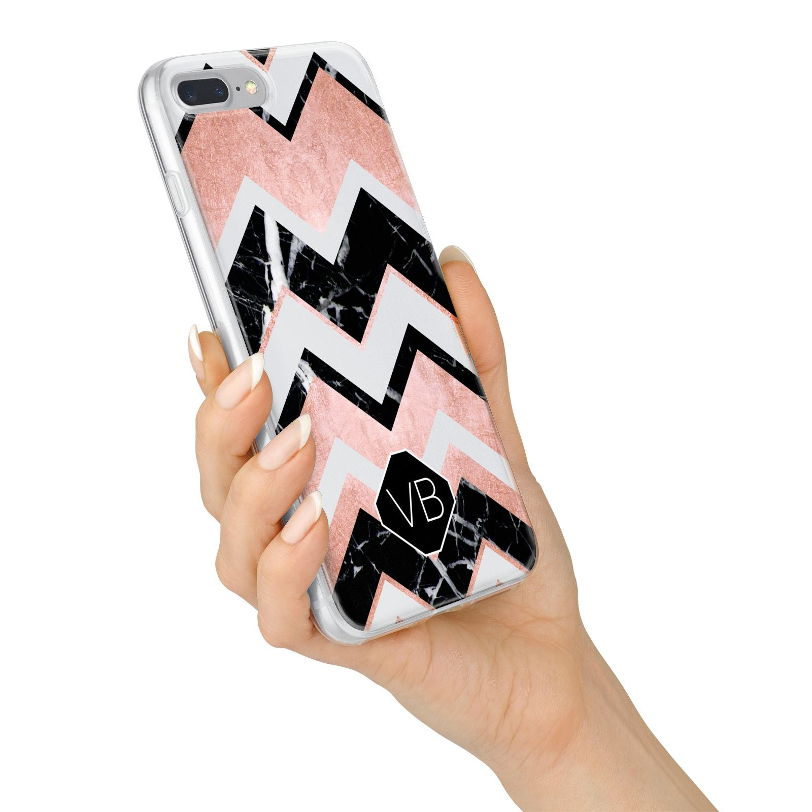 Personalised Chevron Marbled Initials iPhone 7 Plus Bumper Case on Silver iPhone Alternative Image
