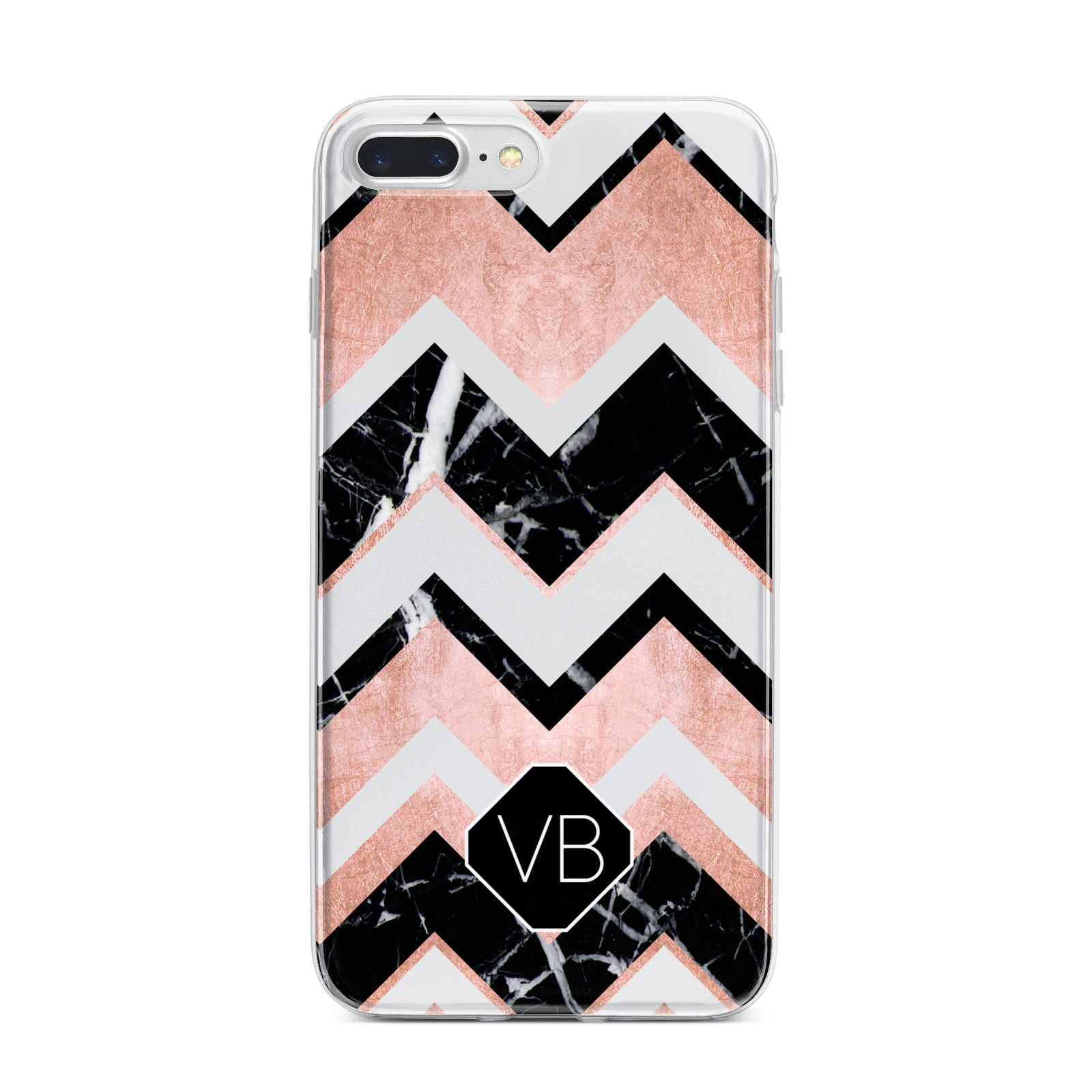 Personalised Chevron Marbled Initials iPhone 7 Plus Bumper Case on Silver iPhone