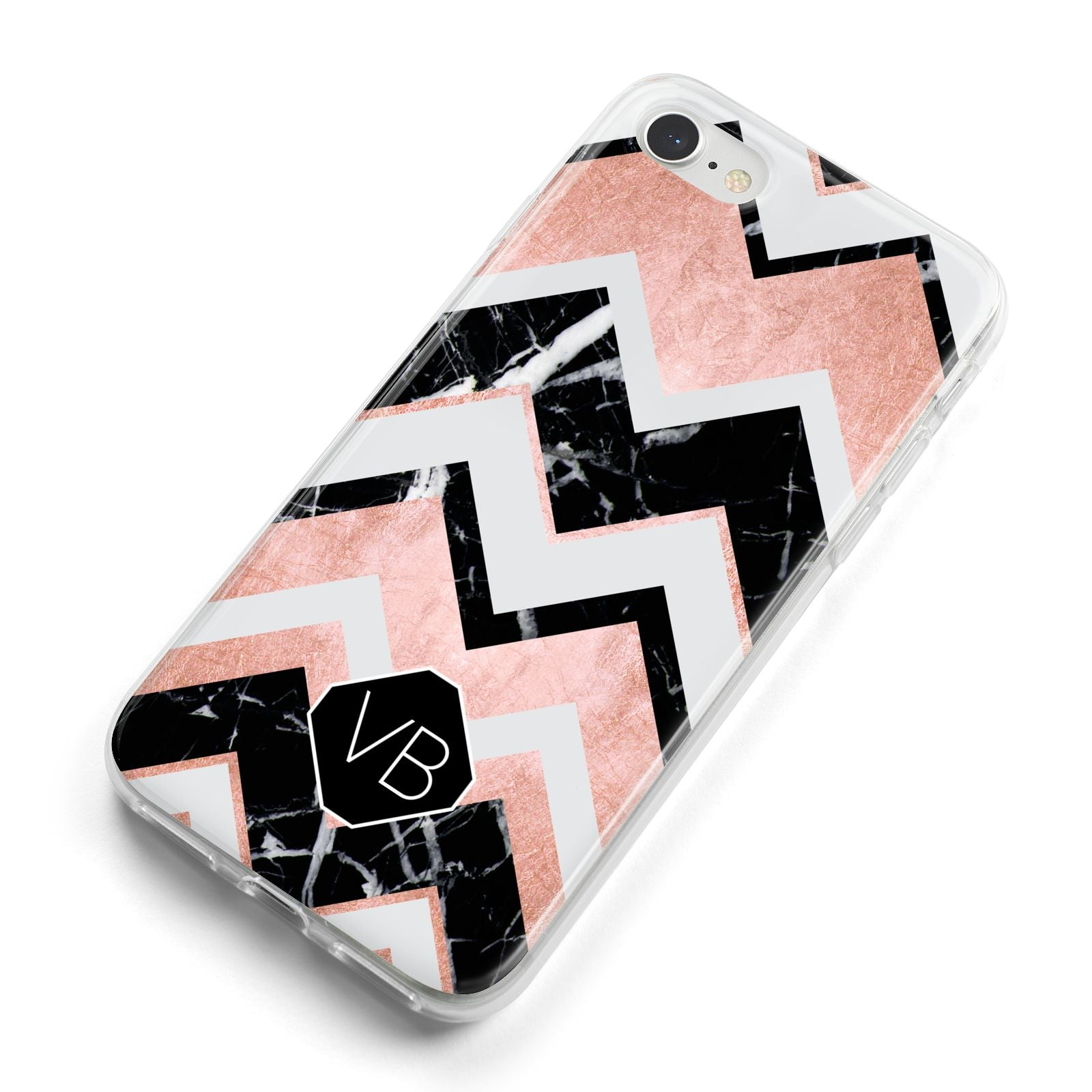 Personalised Chevron Marbled Initials iPhone 8 Bumper Case on Silver iPhone Alternative Image