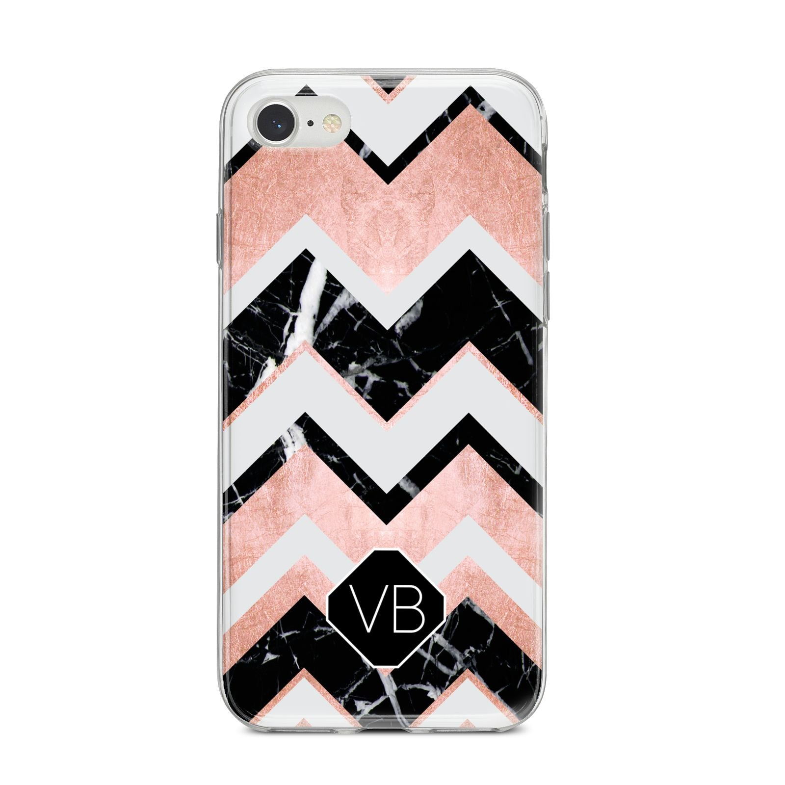 Personalised Chevron Marbled Initials iPhone 8 Bumper Case on Silver iPhone