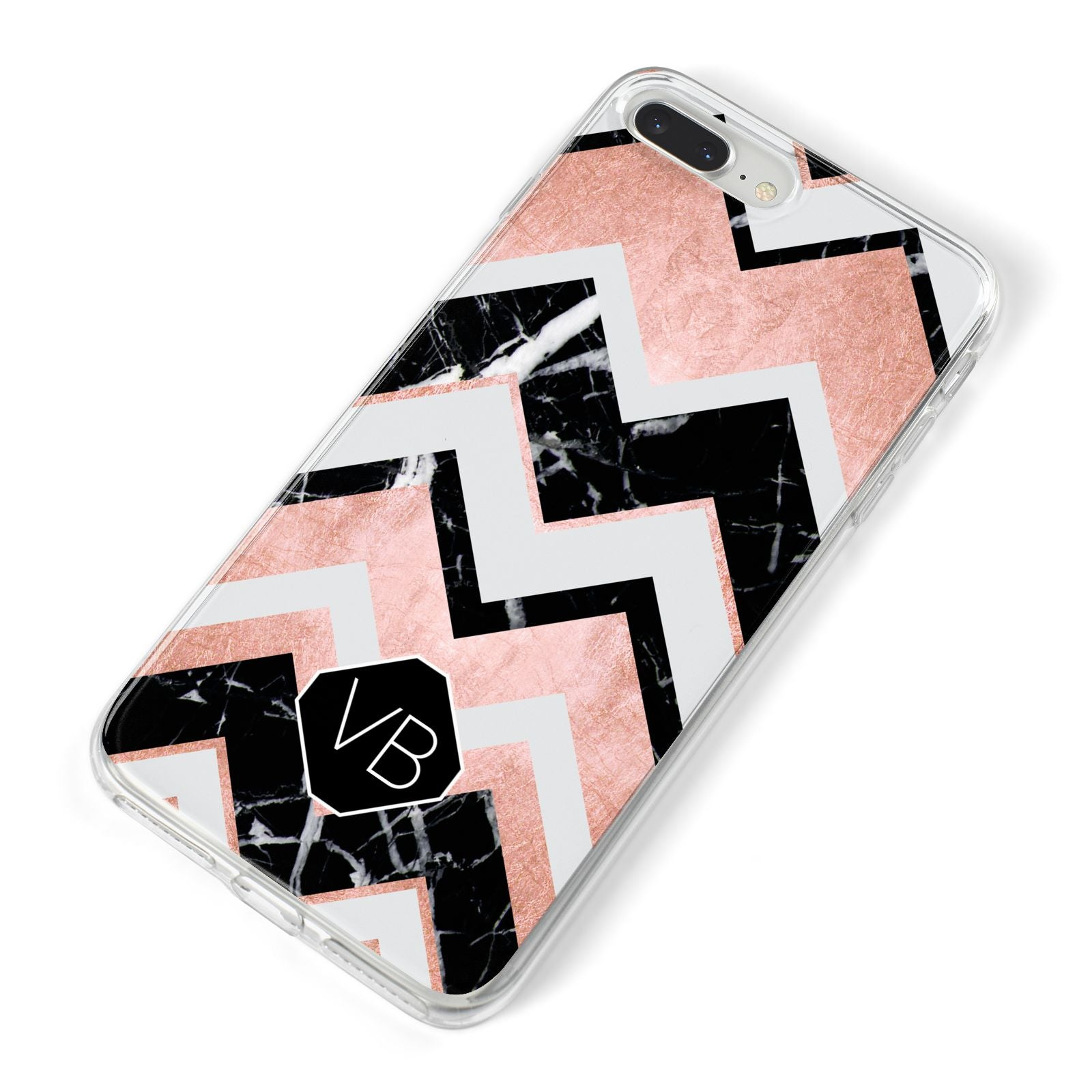 Personalised Chevron Marbled Initials iPhone 8 Plus Bumper Case on Silver iPhone Alternative Image