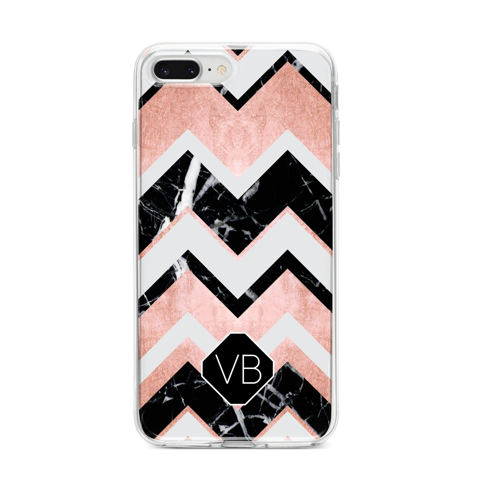 Personalised Chevron Marbled Initials iPhone 8 Plus Bumper Case on Silver iPhone