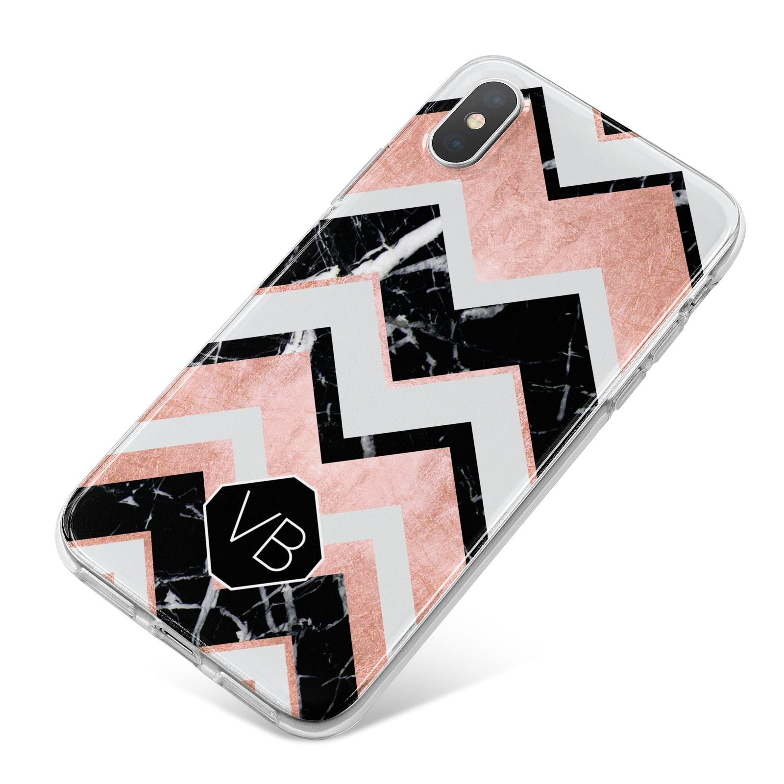 Personalised Chevron Marbled Initials iPhone X Bumper Case on Silver iPhone