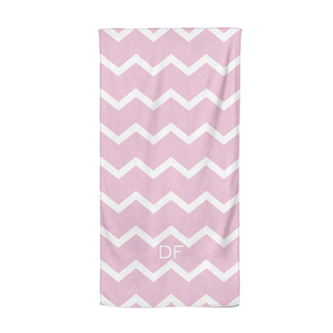 Personalised Chevron Pink Beach Towel