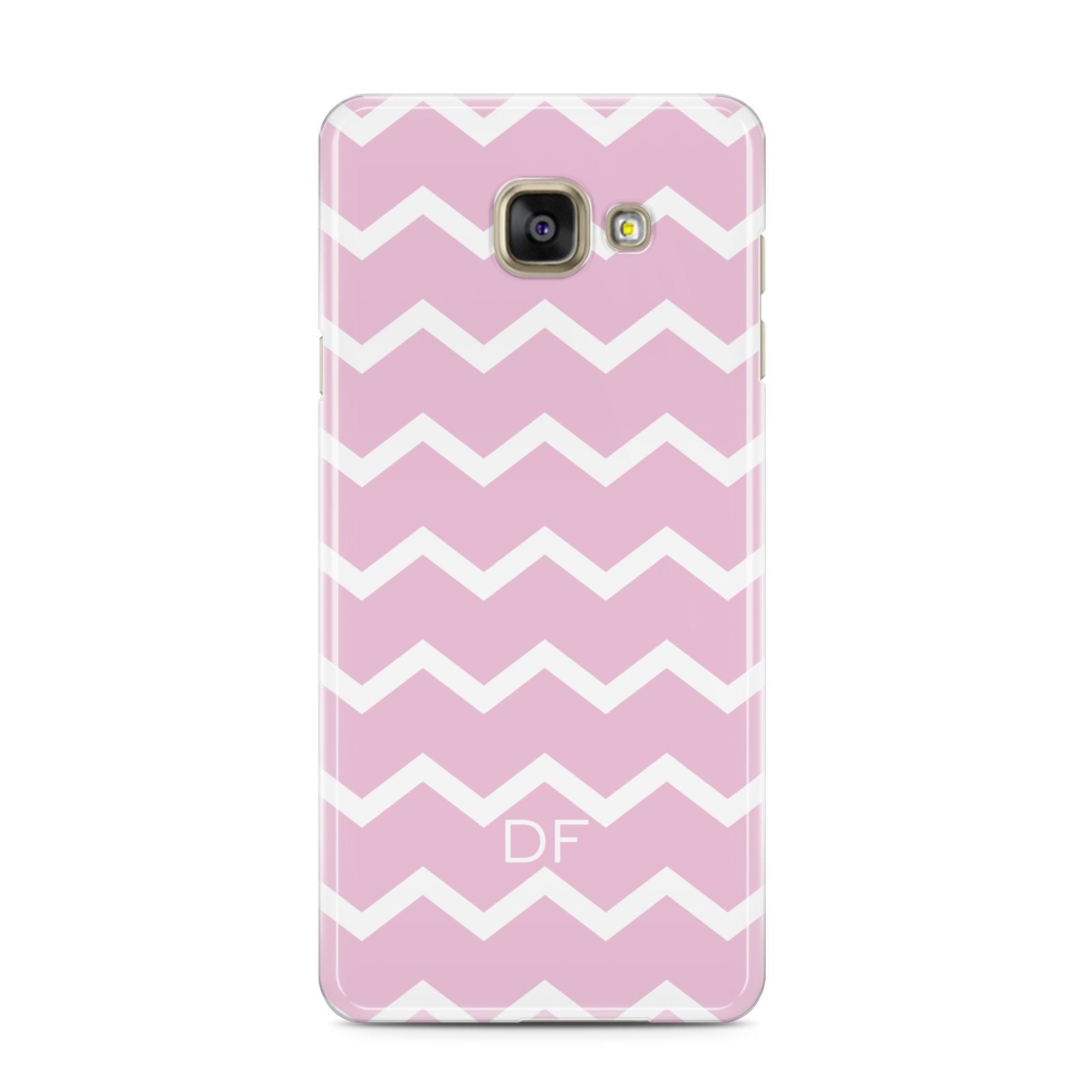 Personalised Chevron Pink Samsung Galaxy A3 2016 Case on gold phone