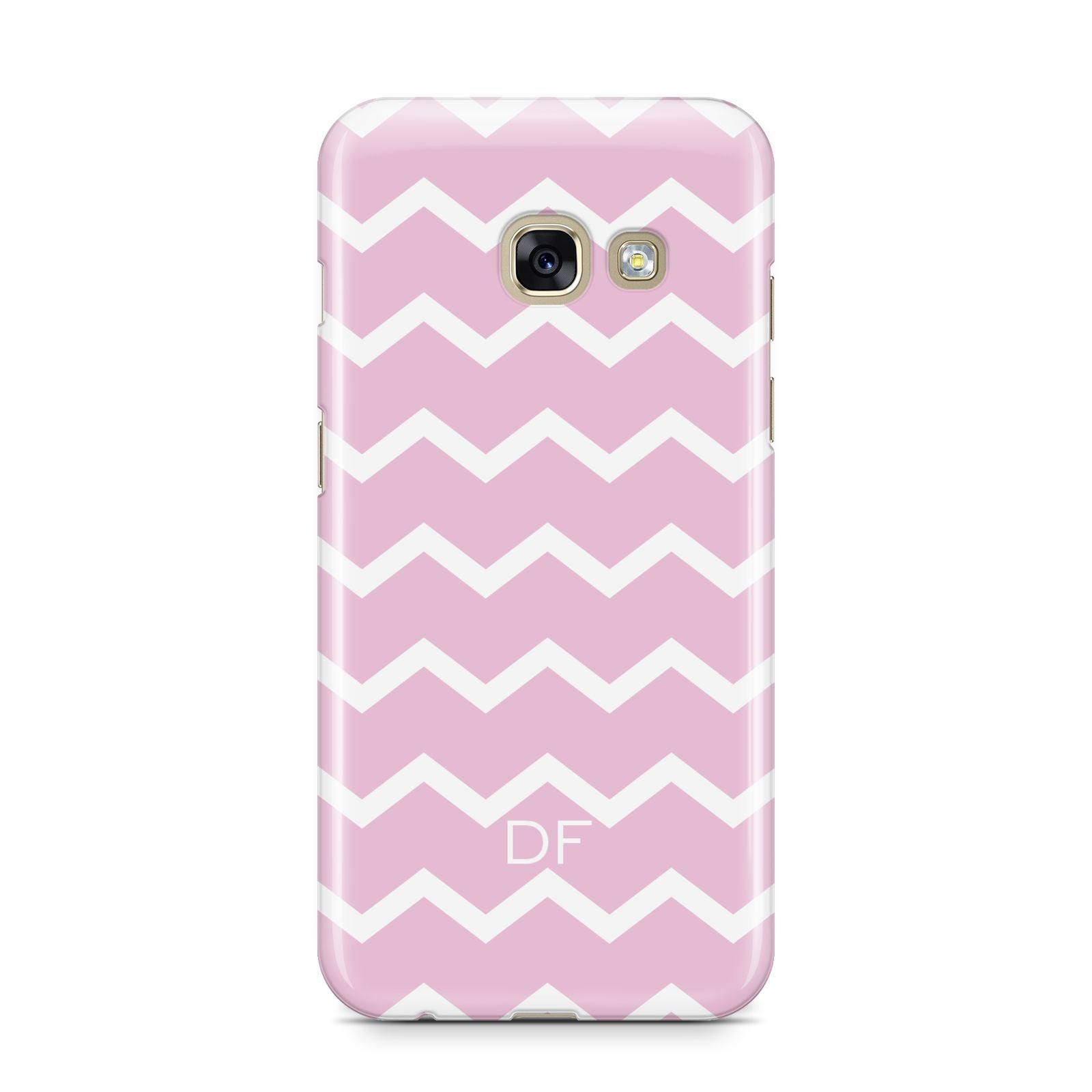 Personalised Chevron Pink Samsung Galaxy A3 2017 Case on gold phone