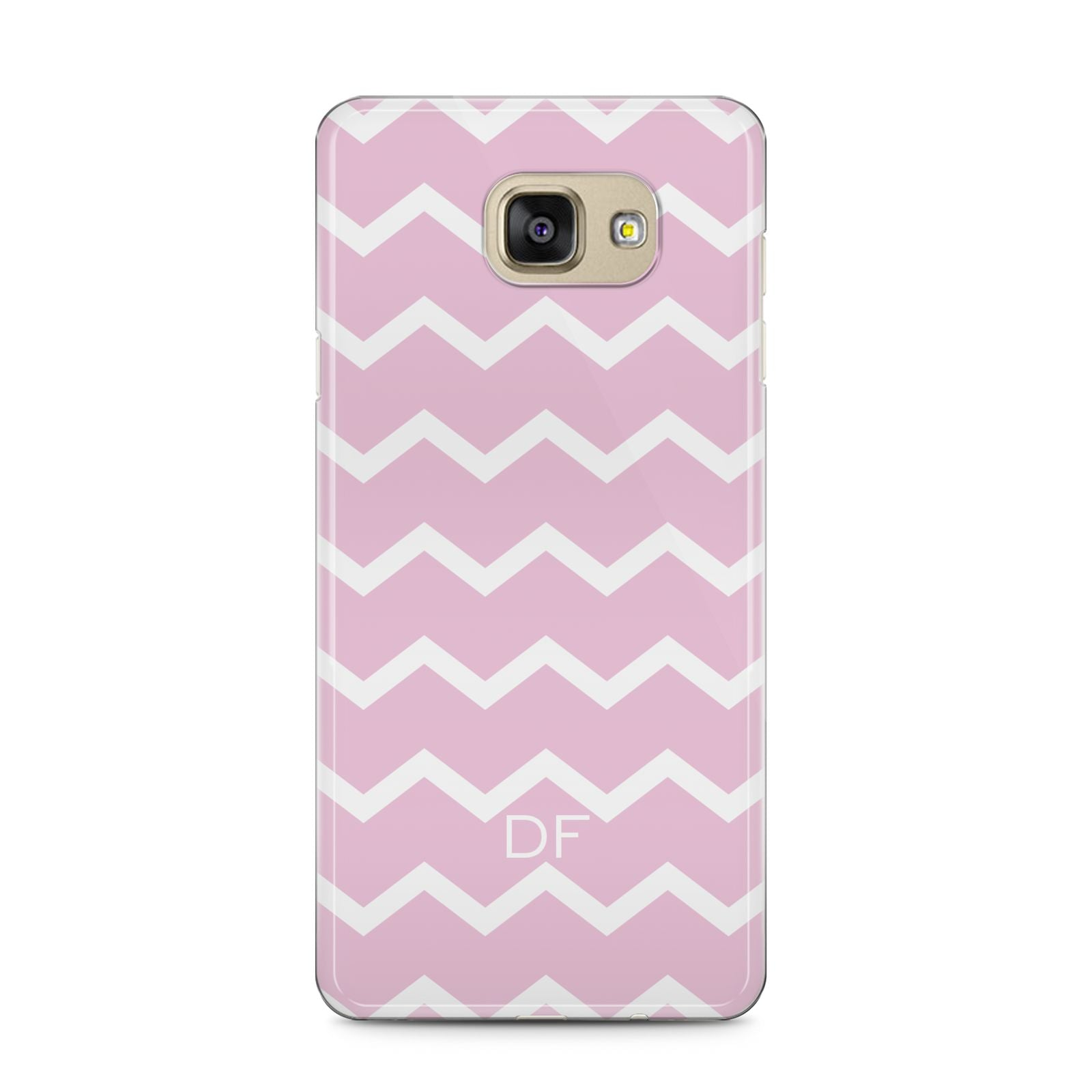 Personalised Chevron Pink Samsung Galaxy A5 2016 Case on gold phone