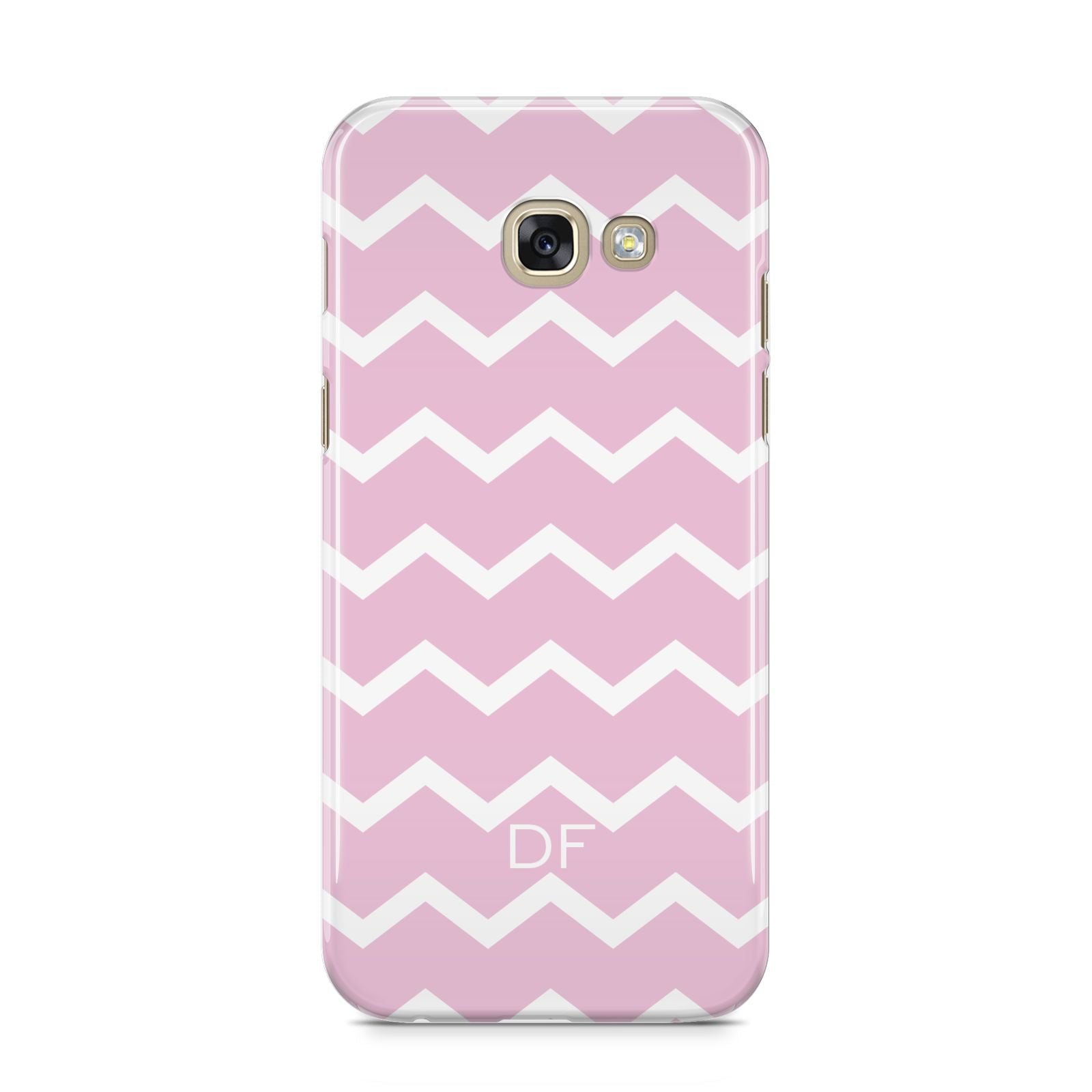 Personalised Chevron Pink Samsung Galaxy A5 2017 Case on gold phone