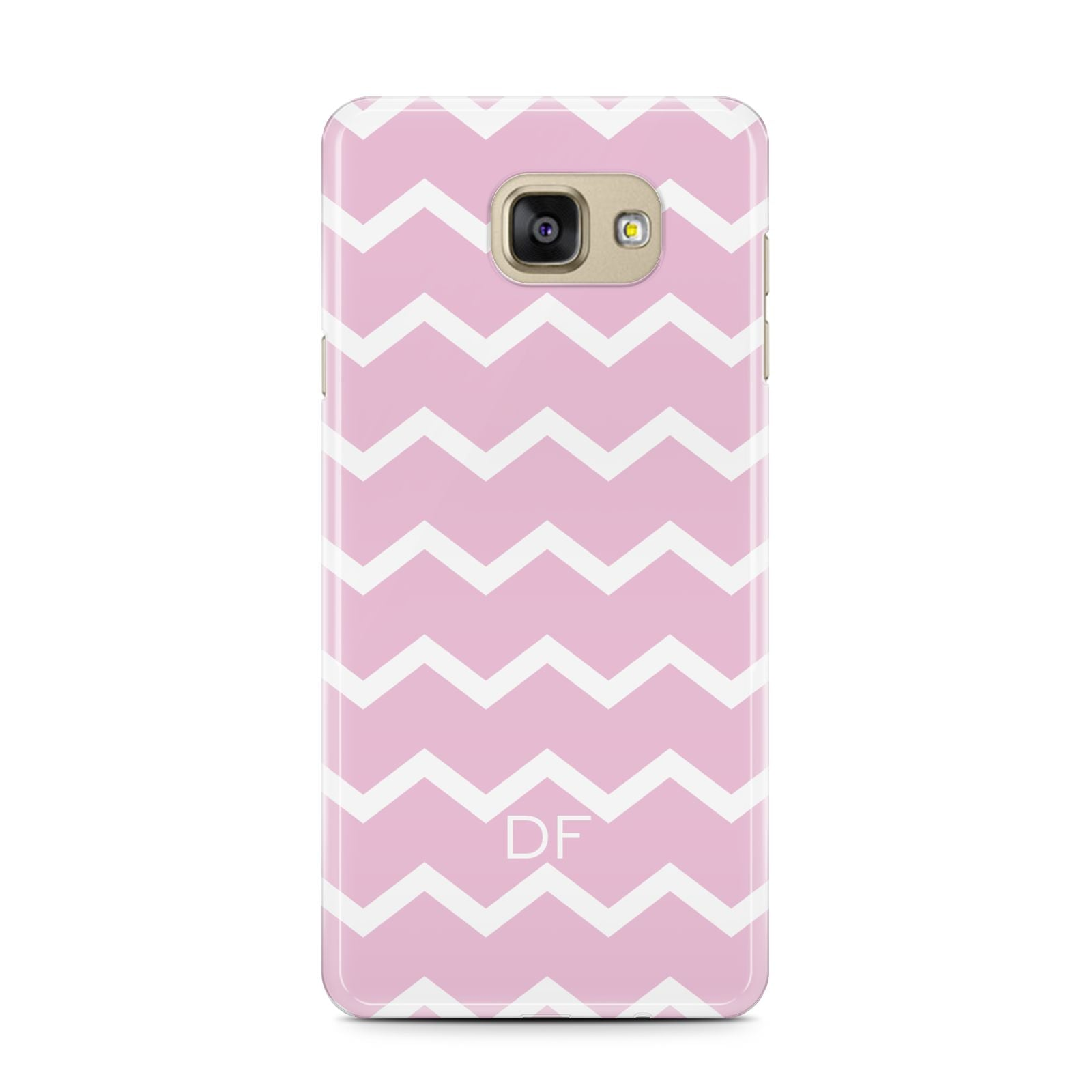 Personalised Chevron Pink Samsung Galaxy A7 2016 Case on gold phone