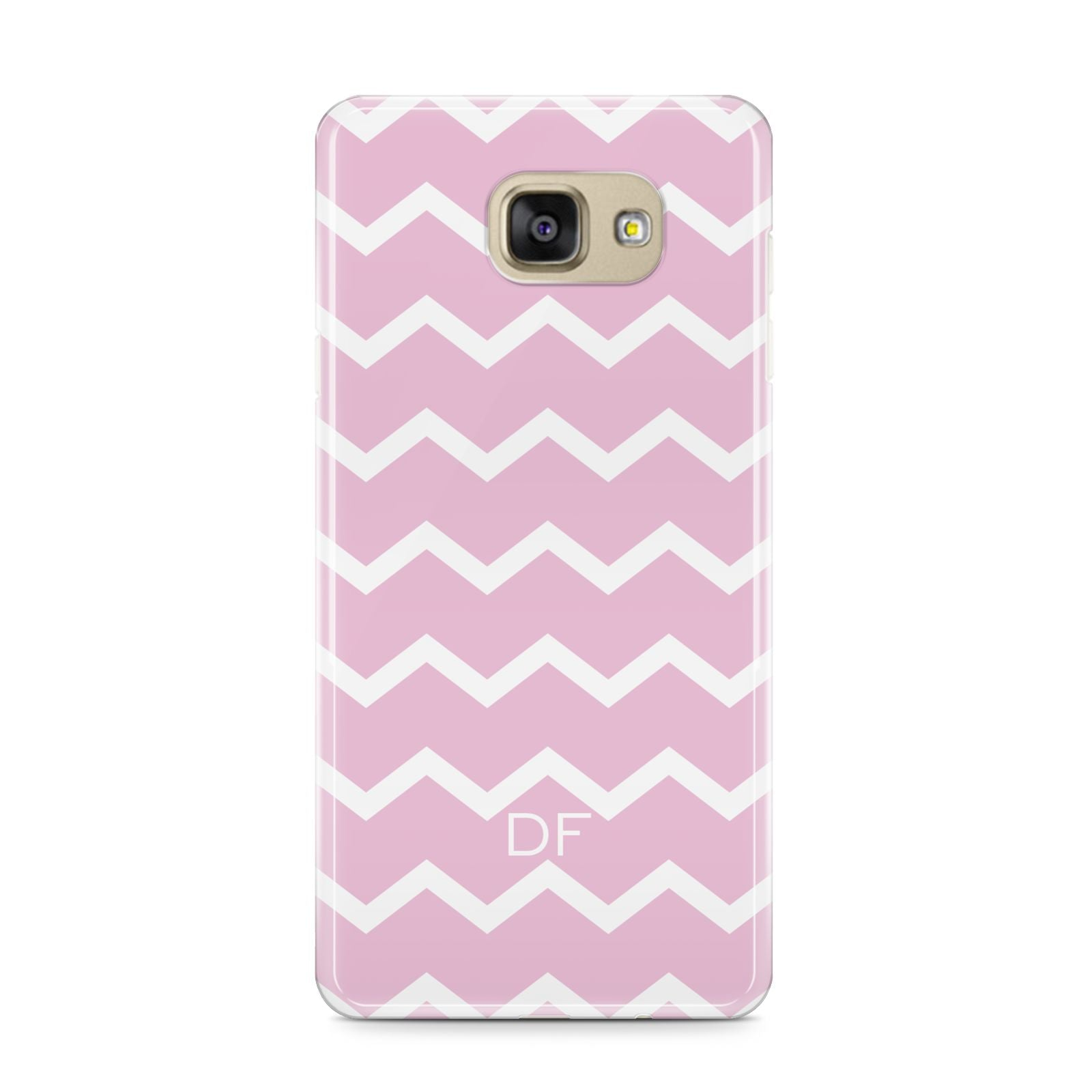 Personalised Chevron Pink Samsung Galaxy A9 2016 Case on gold phone
