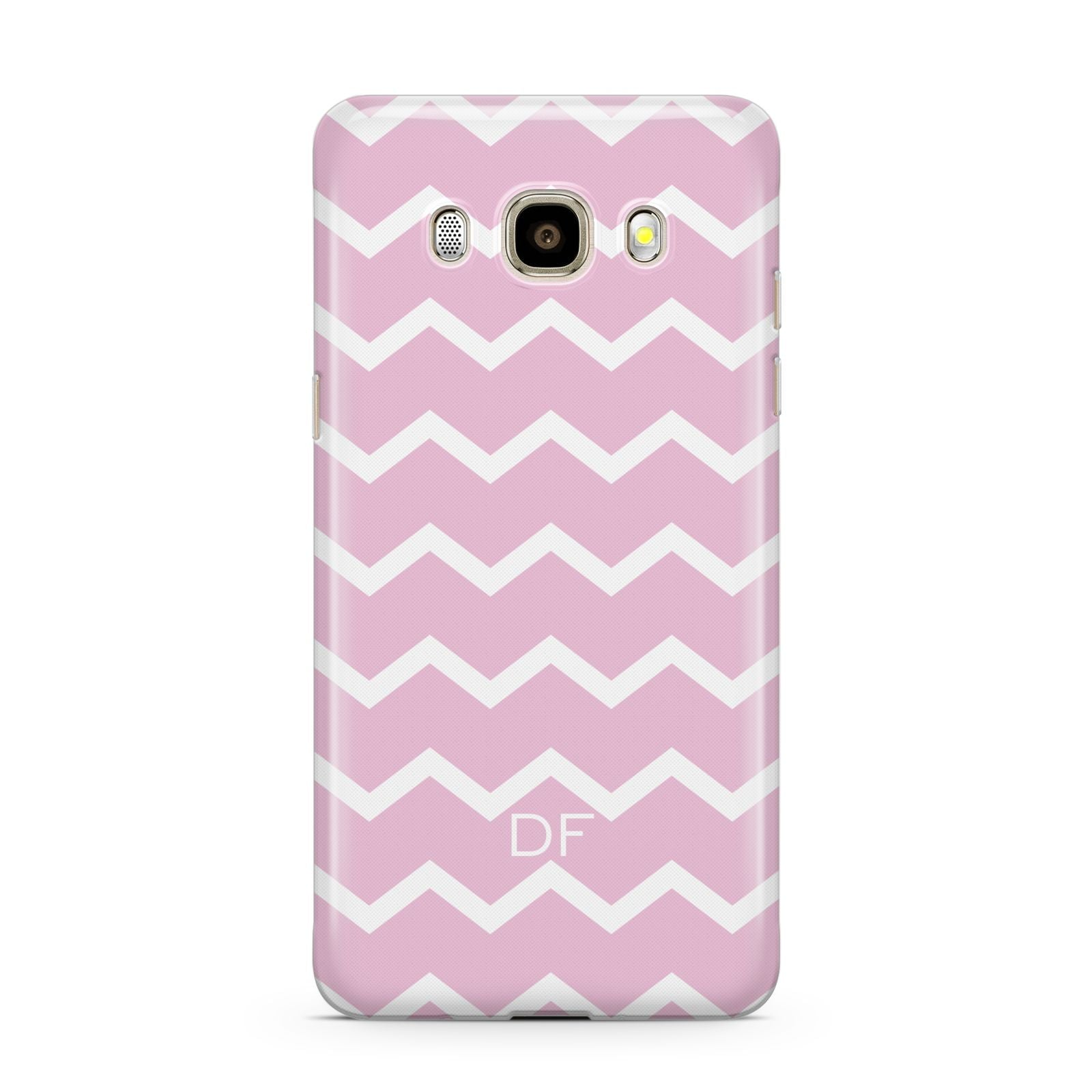 Personalised Chevron Pink Samsung Galaxy J7 2016 Case on gold phone