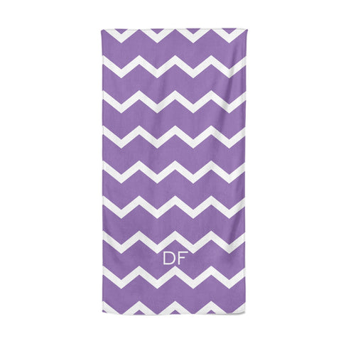 Personalised Chevron Purple Beach Towel