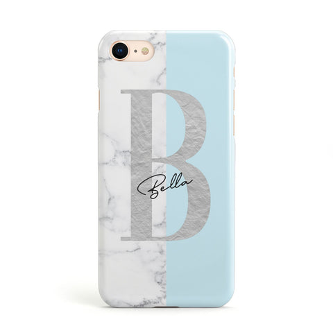 Personalised Chrome Marble iPhone Case