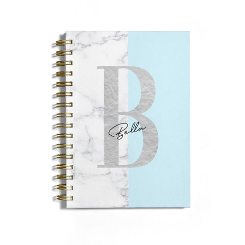 Personalised Chrome Marble Notebook
