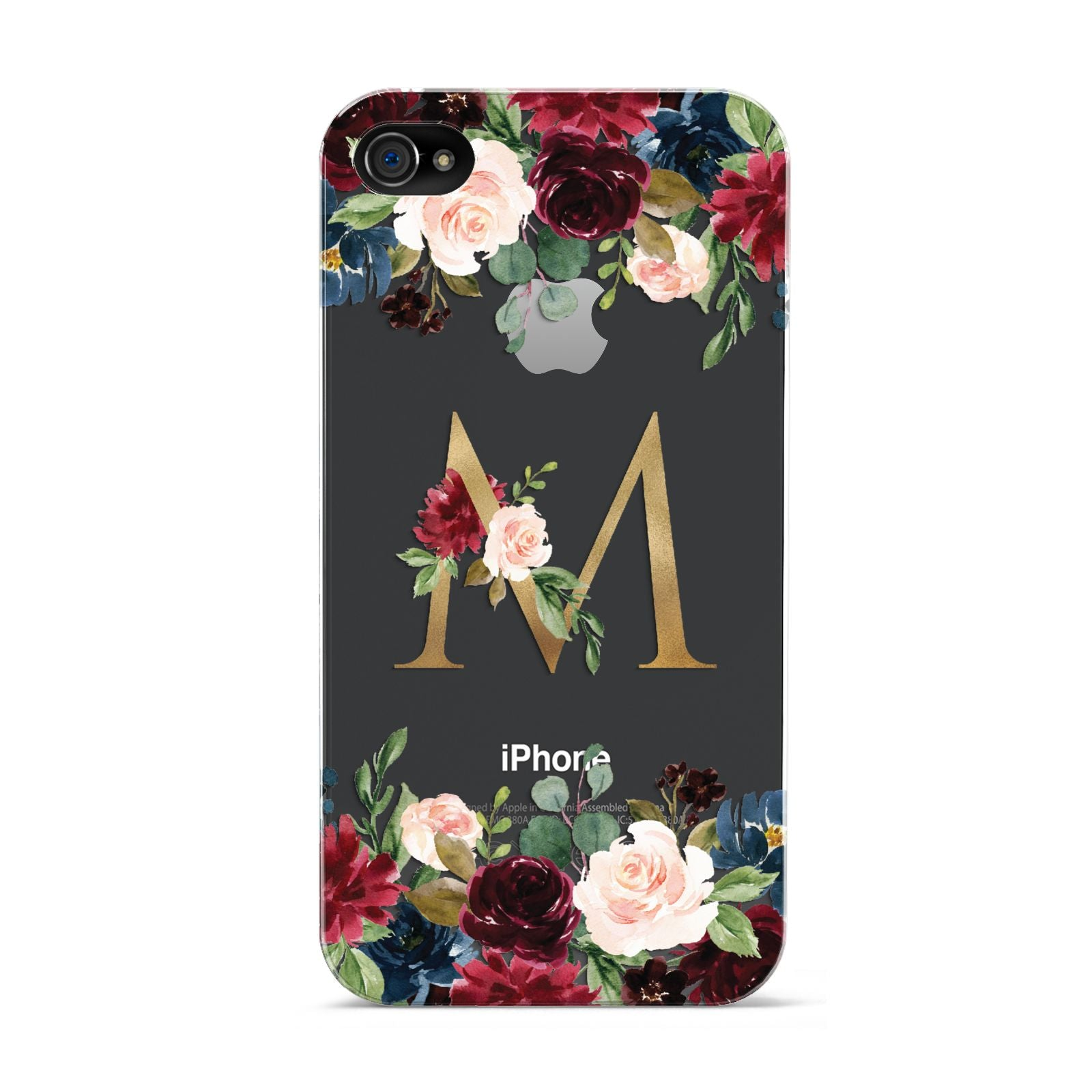 Personalised Clear Monogram Floral Apple iPhone 4s Case