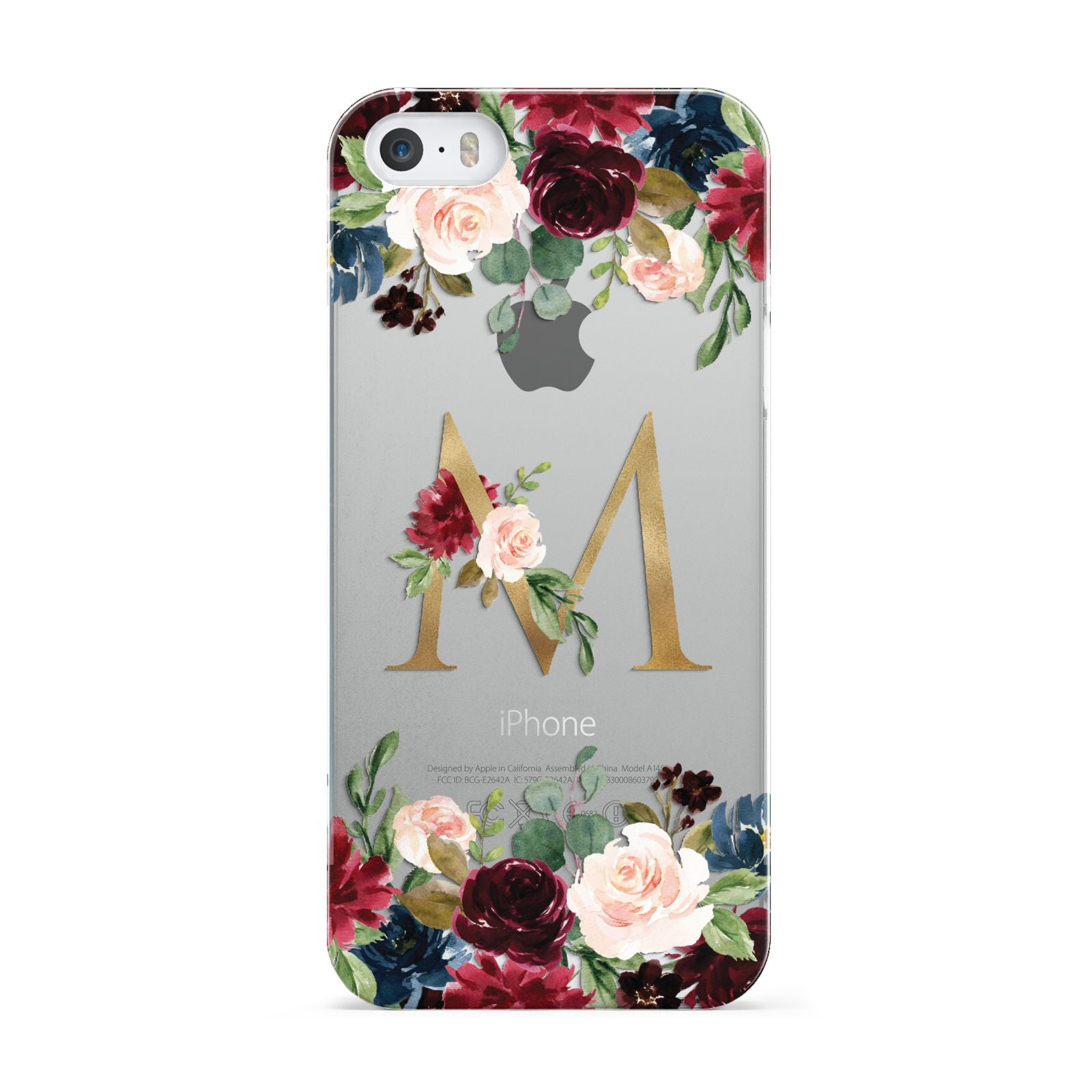 Personalised Clear Monogram Floral Apple iPhone 5 Case
