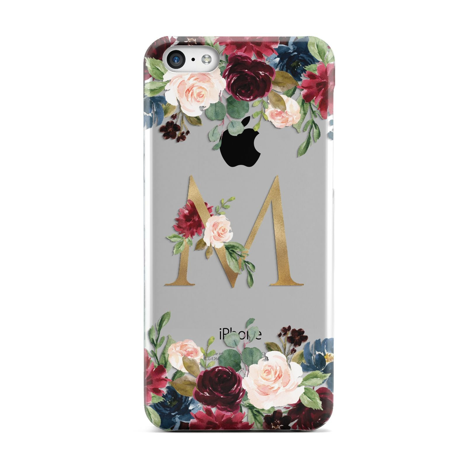 Personalised Clear Monogram Floral Apple iPhone 5c Case