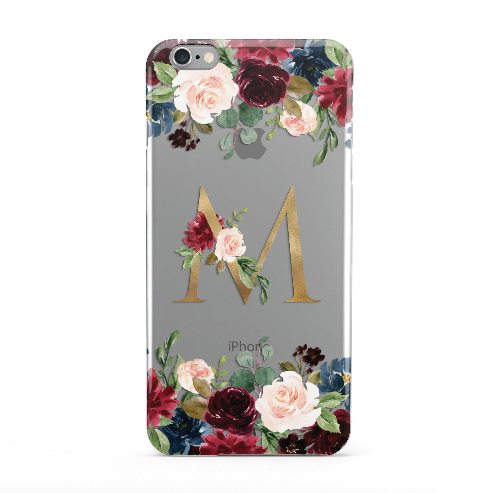 Personalised Clear Monogram Floral Apple iPhone 6 Plus Case