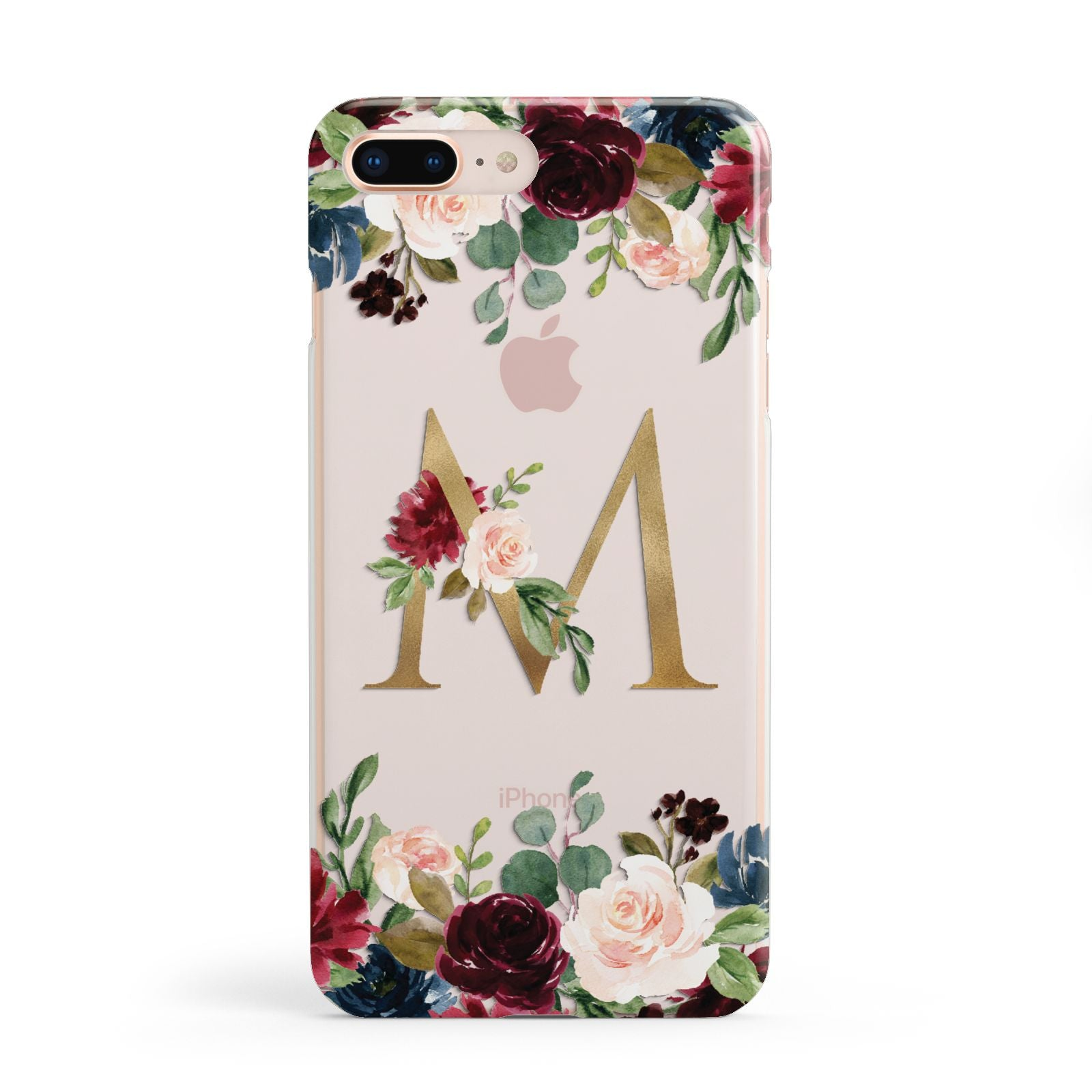 Personalised Clear Monogram Floral Apple iPhone 8 Plus Case