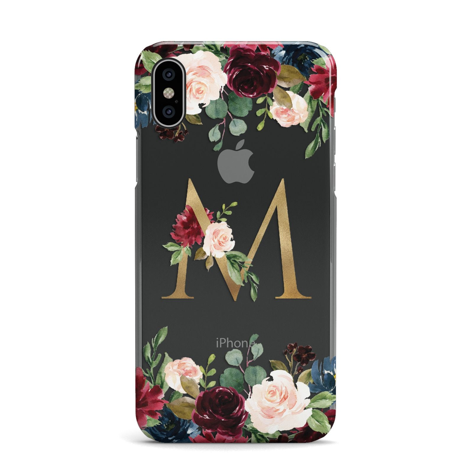 Personalised Clear Monogram Floral Apple iPhone X Case