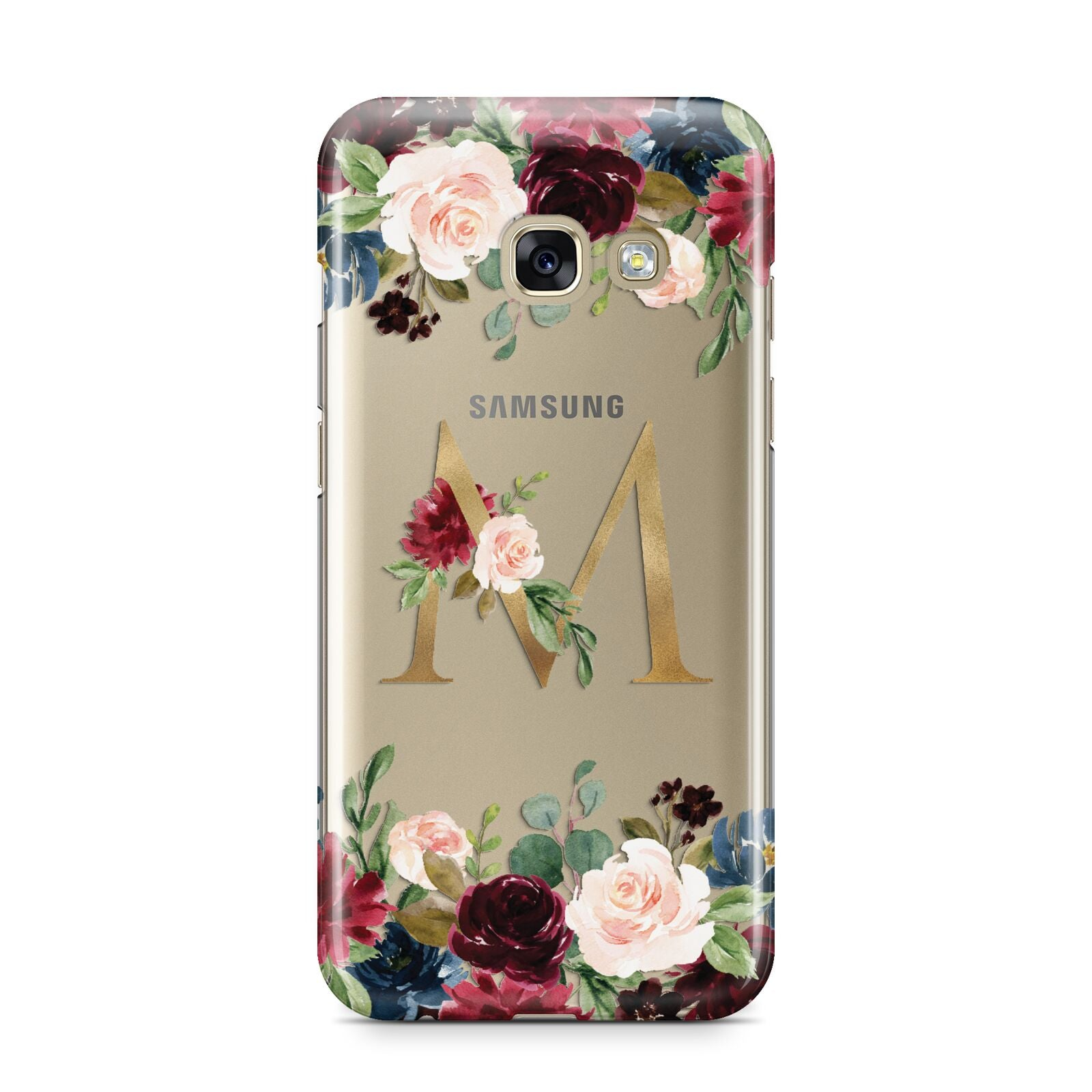 Personalised Clear Monogram Floral Samsung Galaxy A3 2017 Case on gold phone
