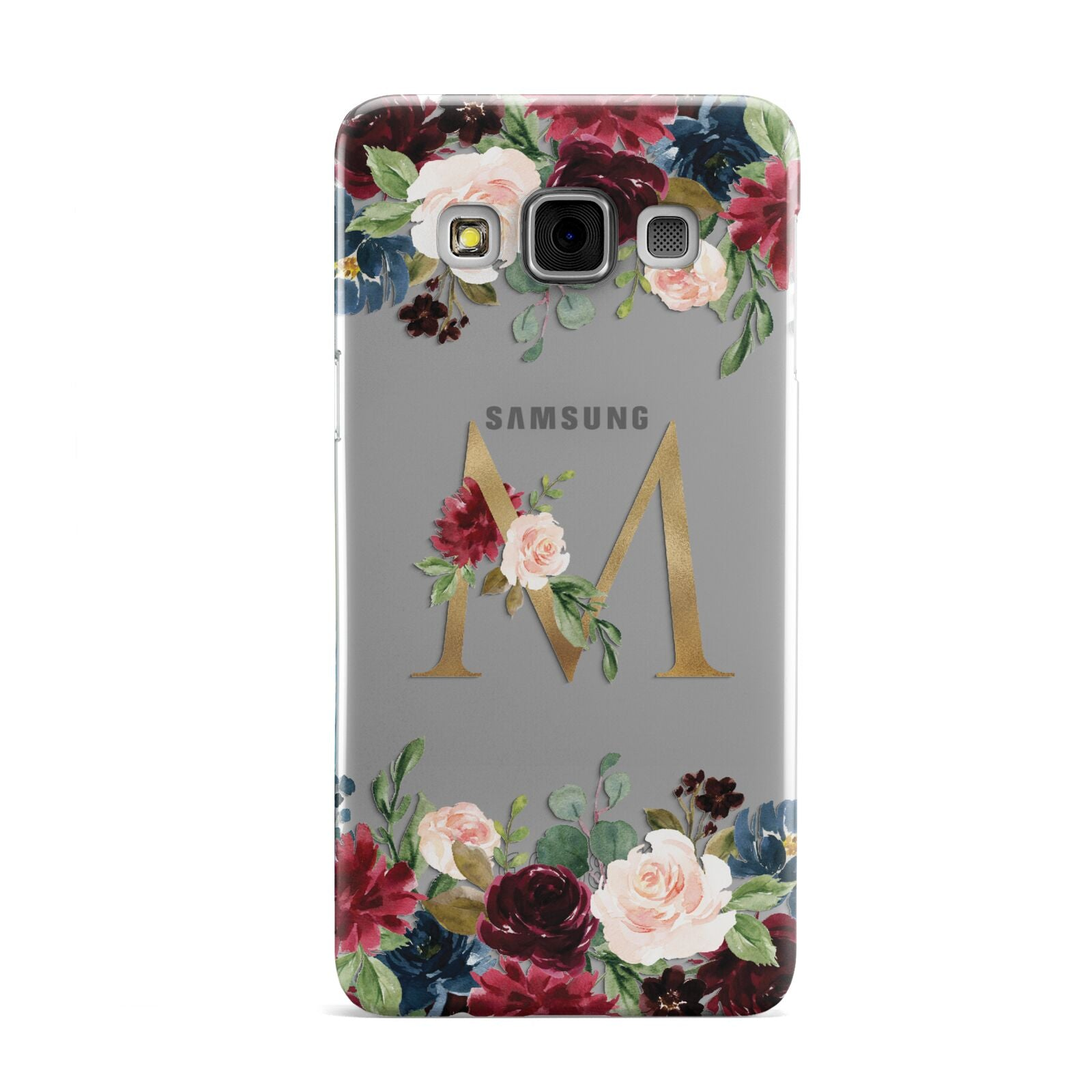 Personalised Clear Monogram Floral Samsung Galaxy A3 Case