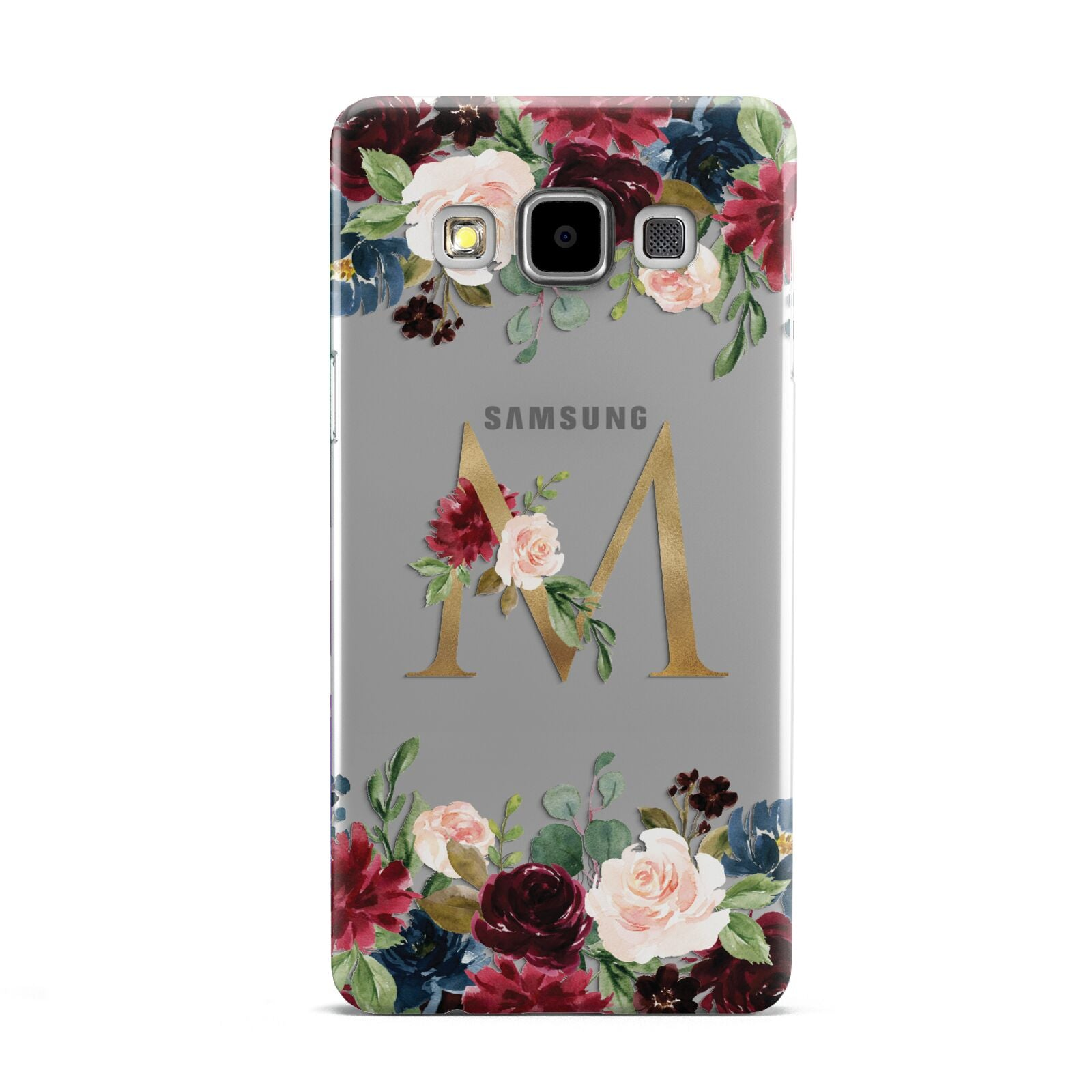 Personalised Clear Monogram Floral Samsung Galaxy A5 Case
