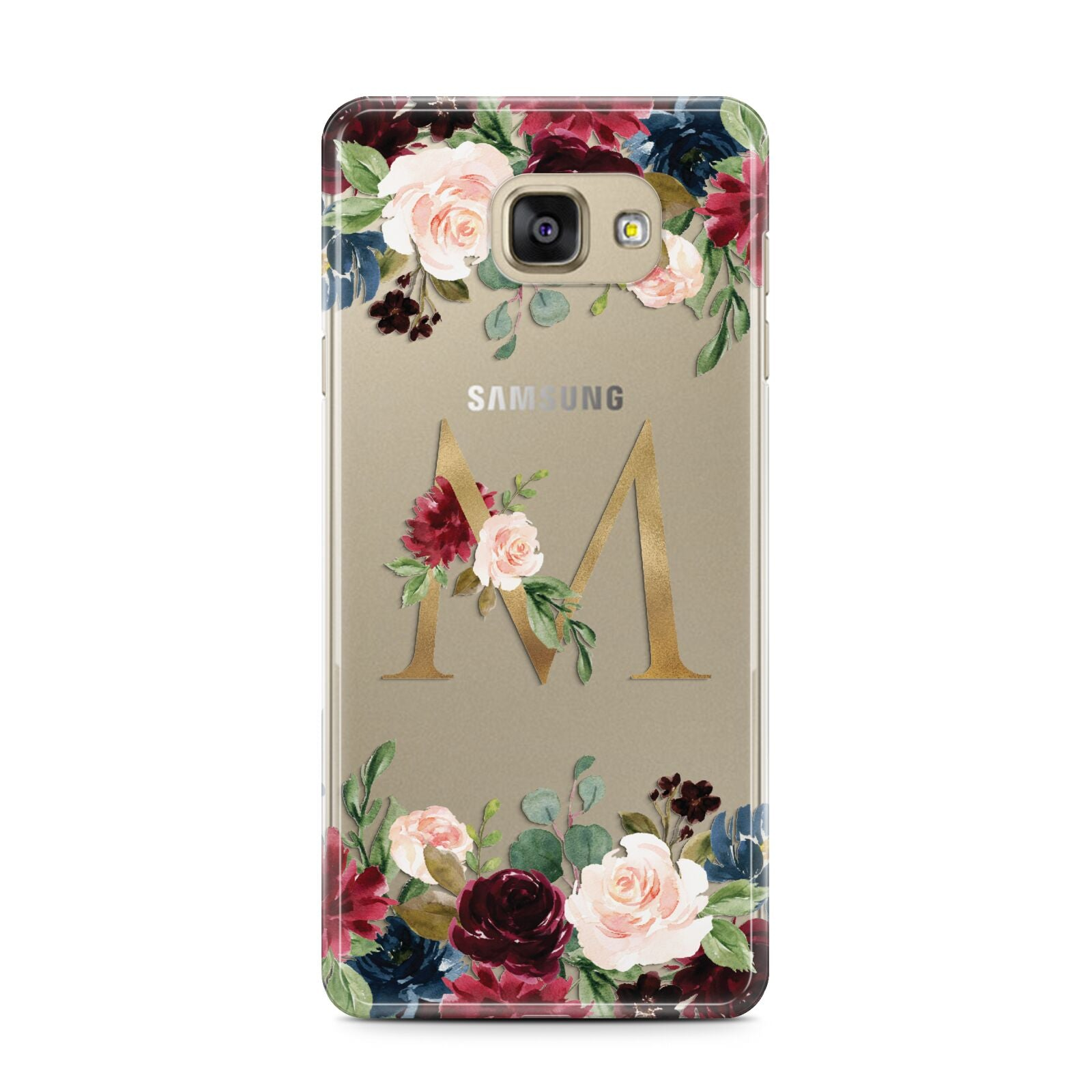 Personalised Clear Monogram Floral Samsung Galaxy A7 2016 Case on gold phone
