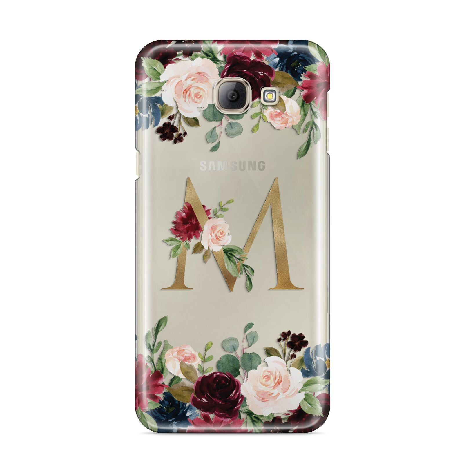 Personalised Clear Monogram Floral Samsung Galaxy A8 2016 Case