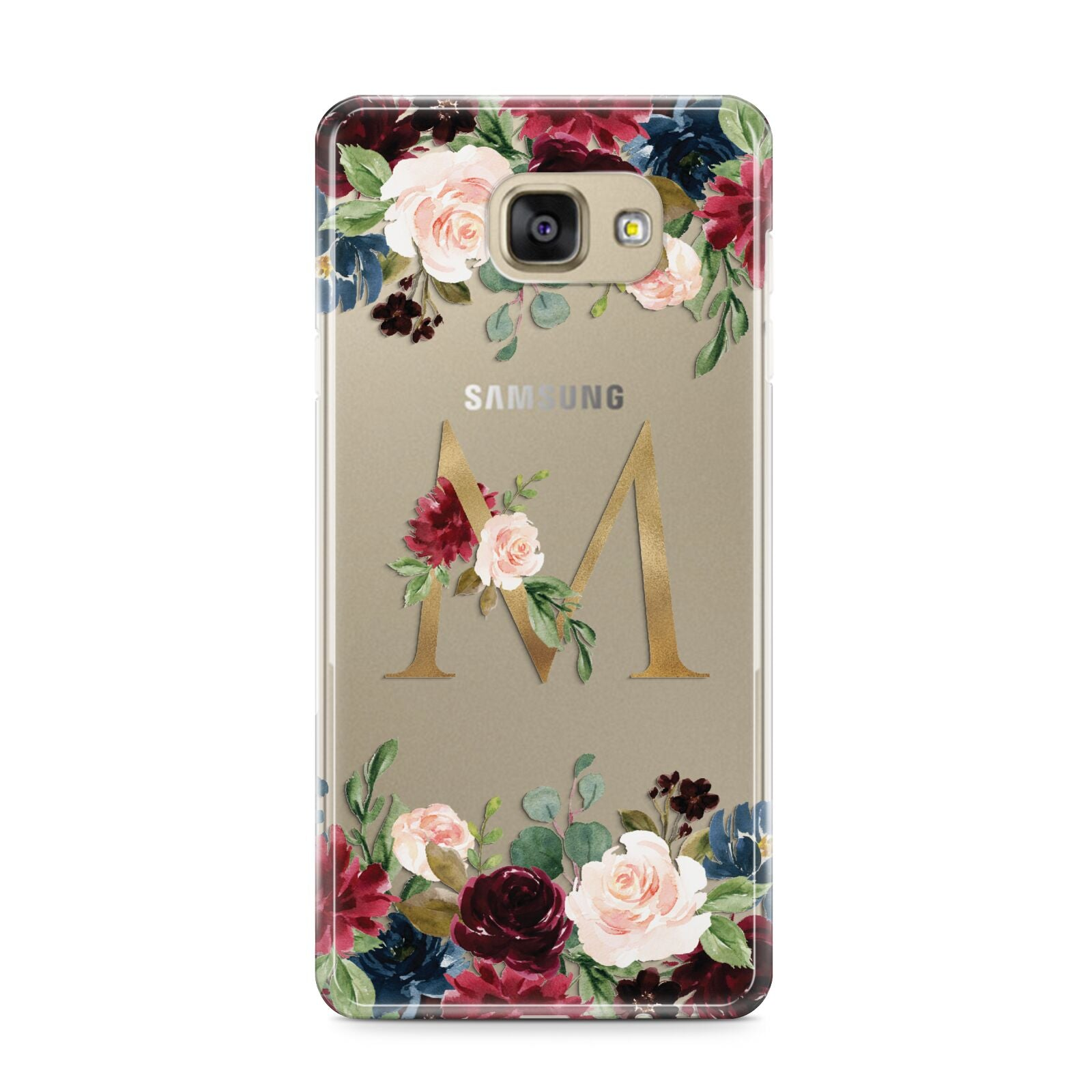 Personalised Clear Monogram Floral Samsung Galaxy A9 2016 Case on gold phone