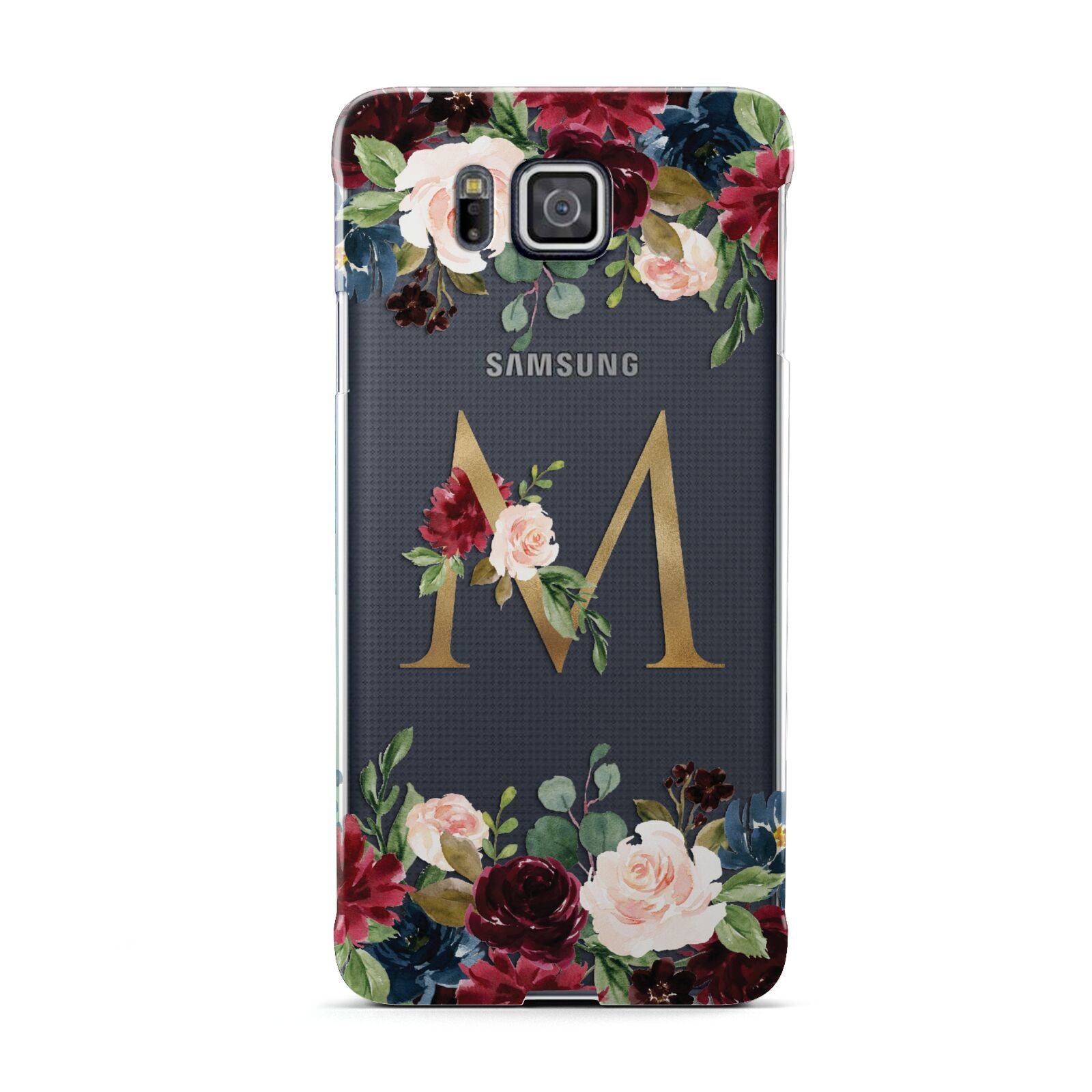 Personalised Clear Monogram Floral Samsung Galaxy Alpha Case
