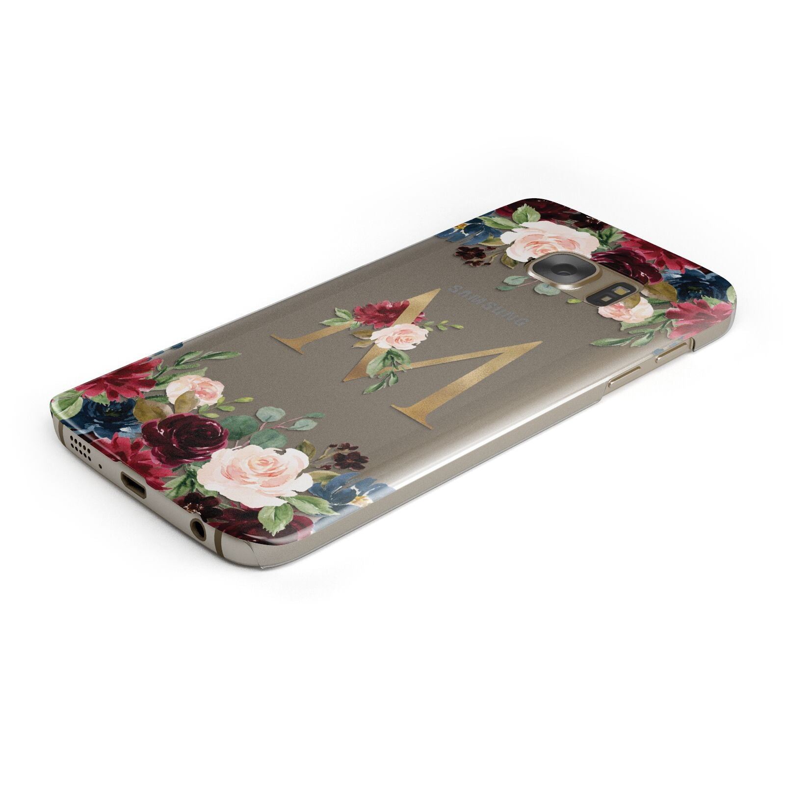 Personalised Clear Monogram Floral Samsung Galaxy Case Bottom Cutout