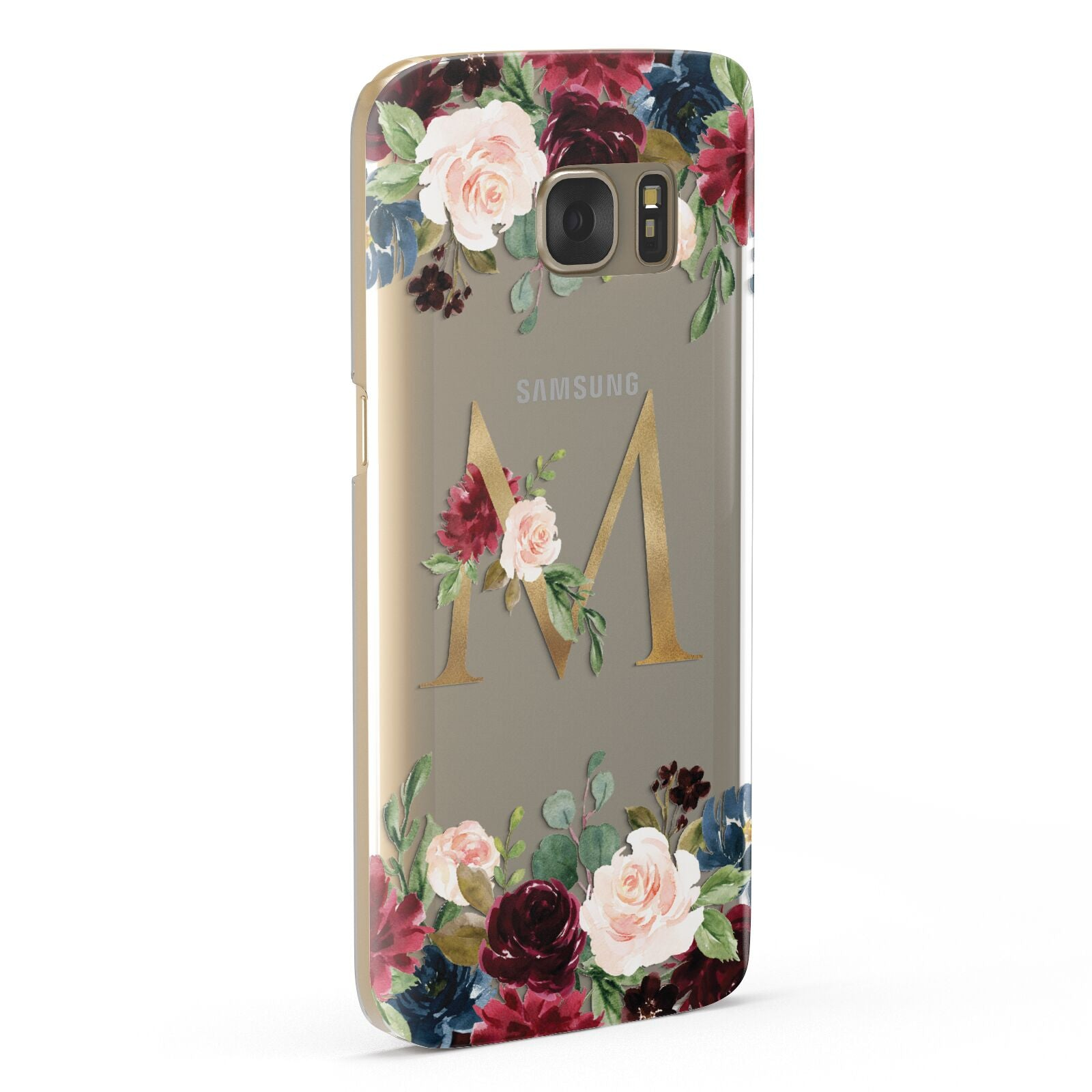 Personalised Clear Monogram Floral Samsung Galaxy Case Fourty Five Degrees