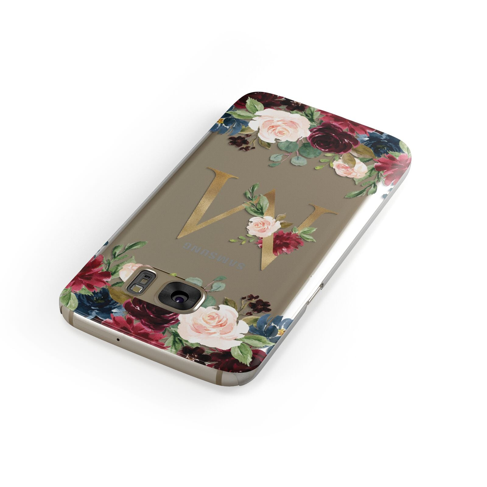 Personalised Clear Monogram Floral Samsung Galaxy Case Front Close Up