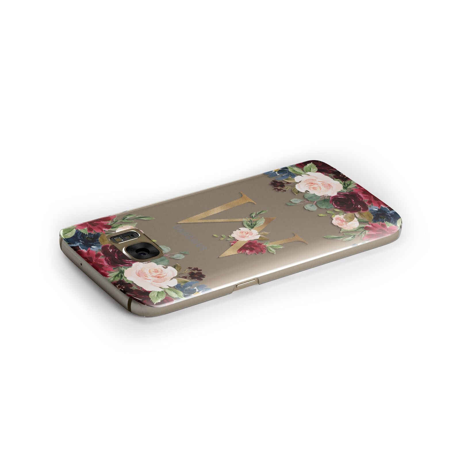 Personalised Clear Monogram Floral Samsung Galaxy Case Side Close Up