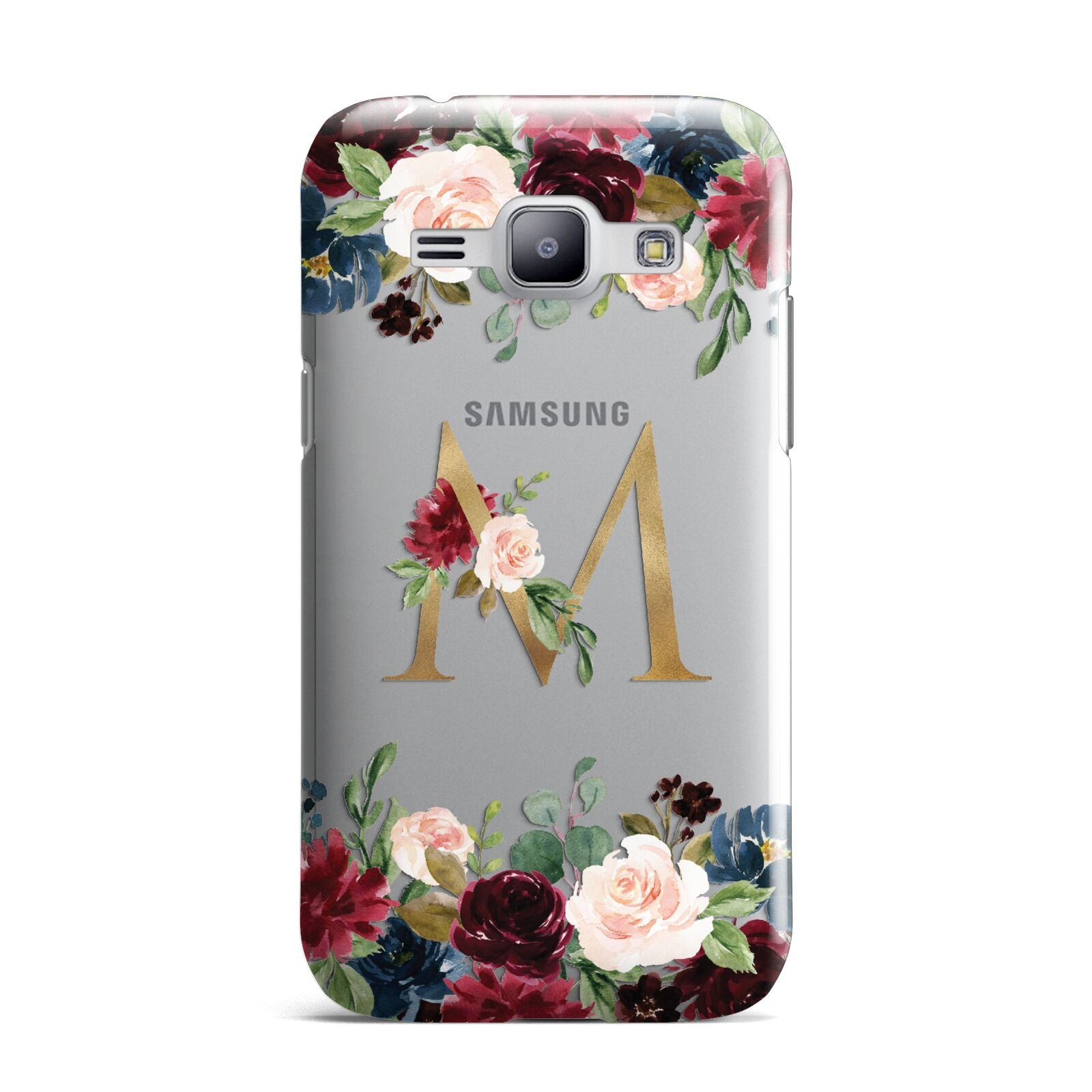 Personalised Clear Monogram Floral Samsung Galaxy J1 2015 Case