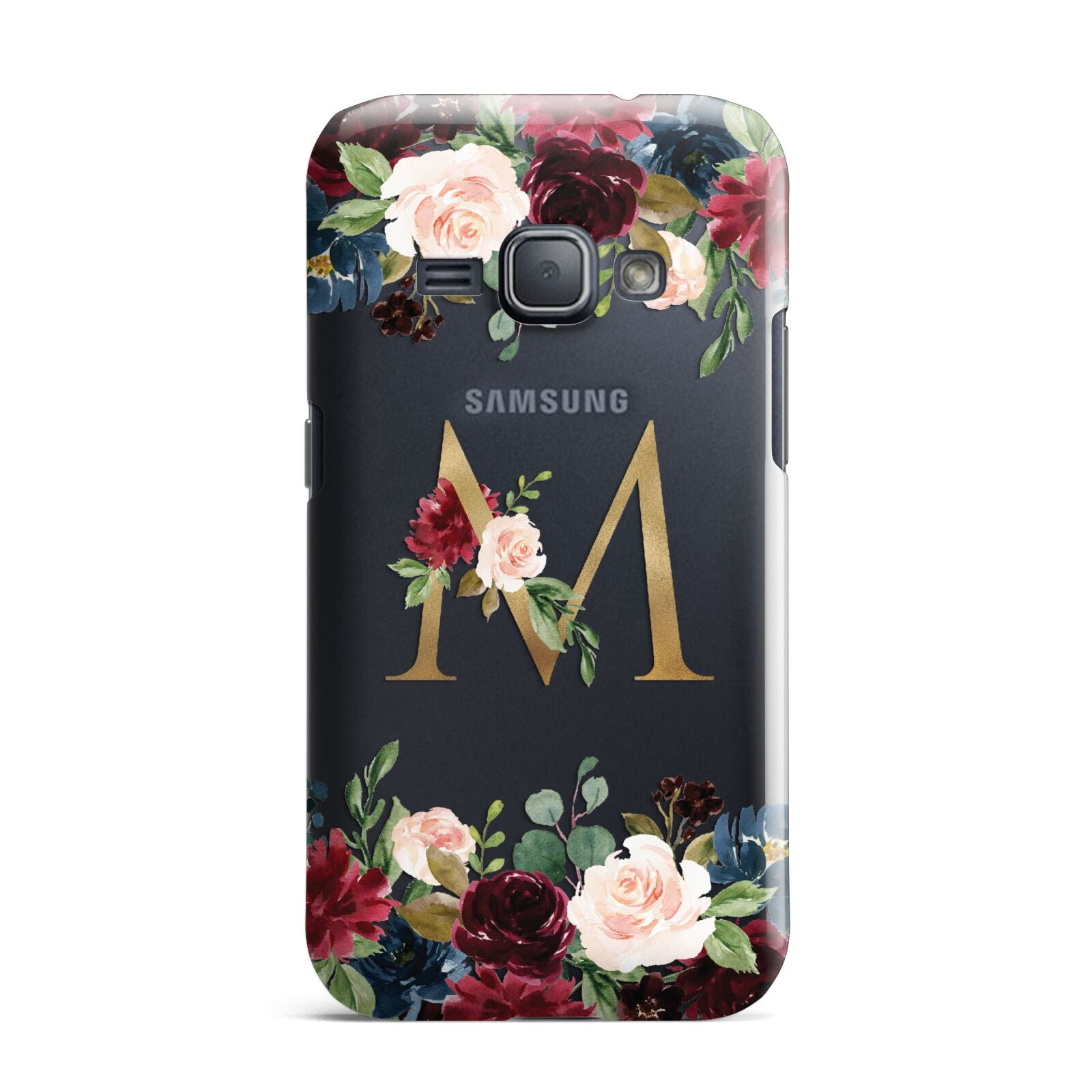 Personalised Clear Monogram Floral Samsung Galaxy J1 2016 Case